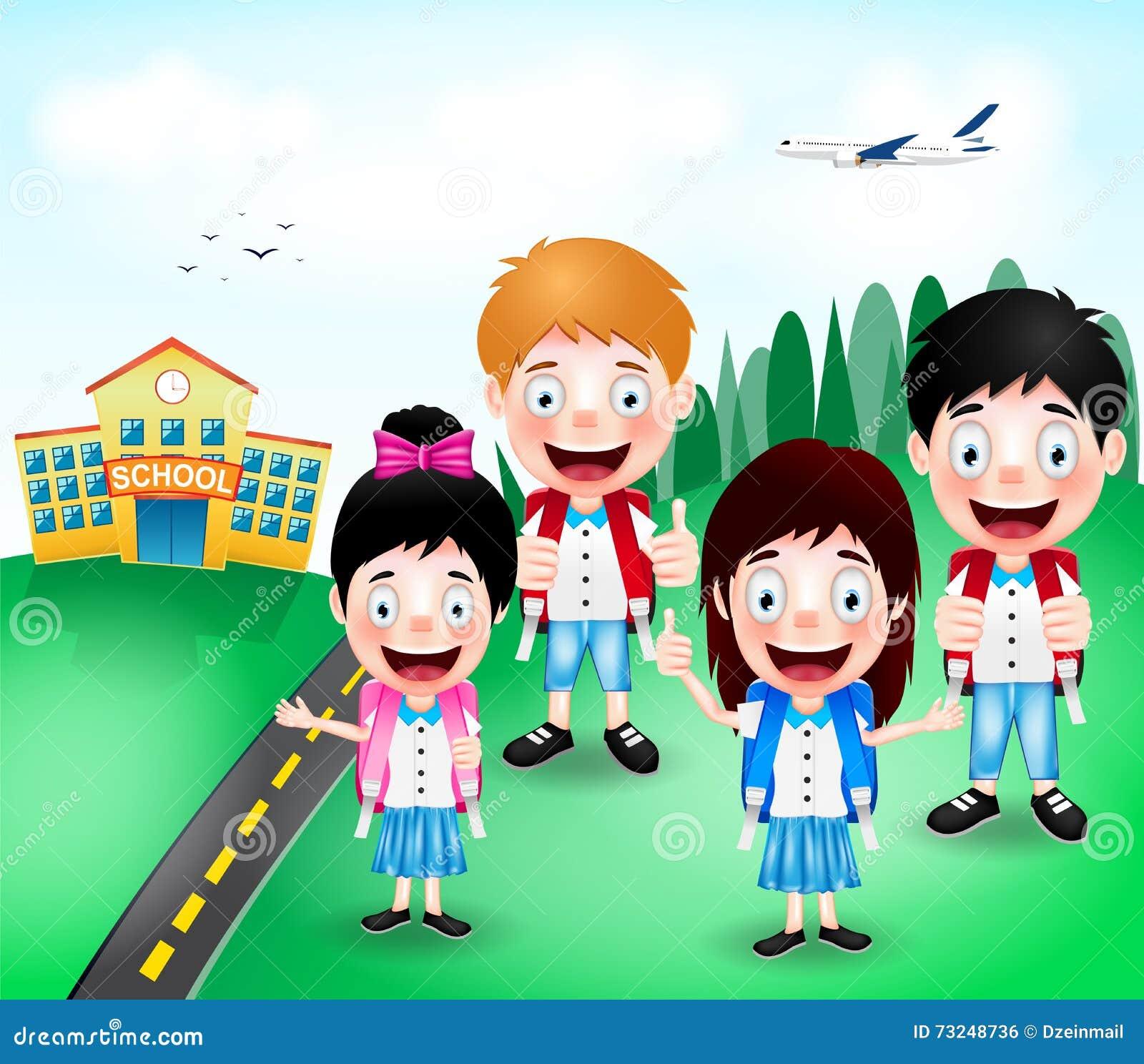 Cute School Kids Cartoon Vector | CartoonDealer.com #57809451