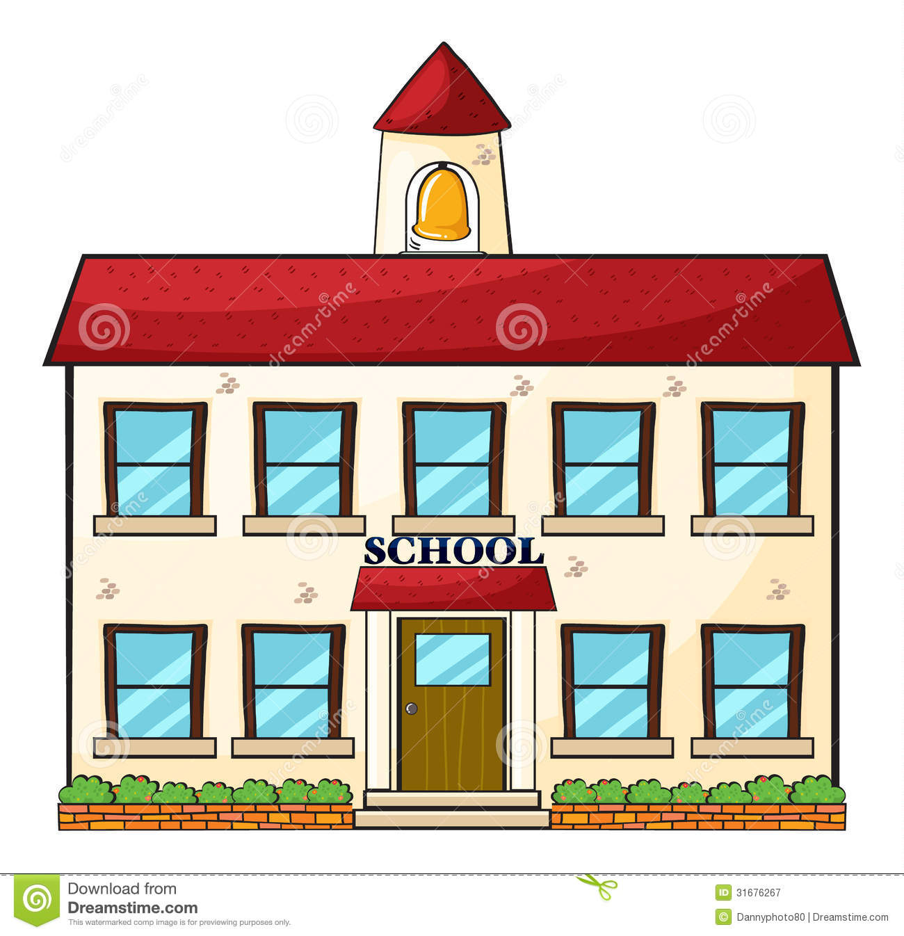 A school building stock vector illustration of green for House images free download
