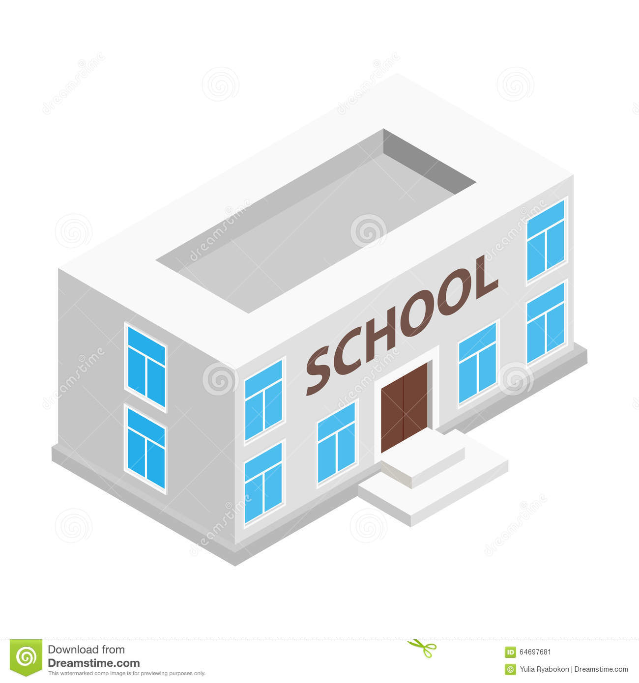 School Building Isometric 3d Icon Stock Vector Image