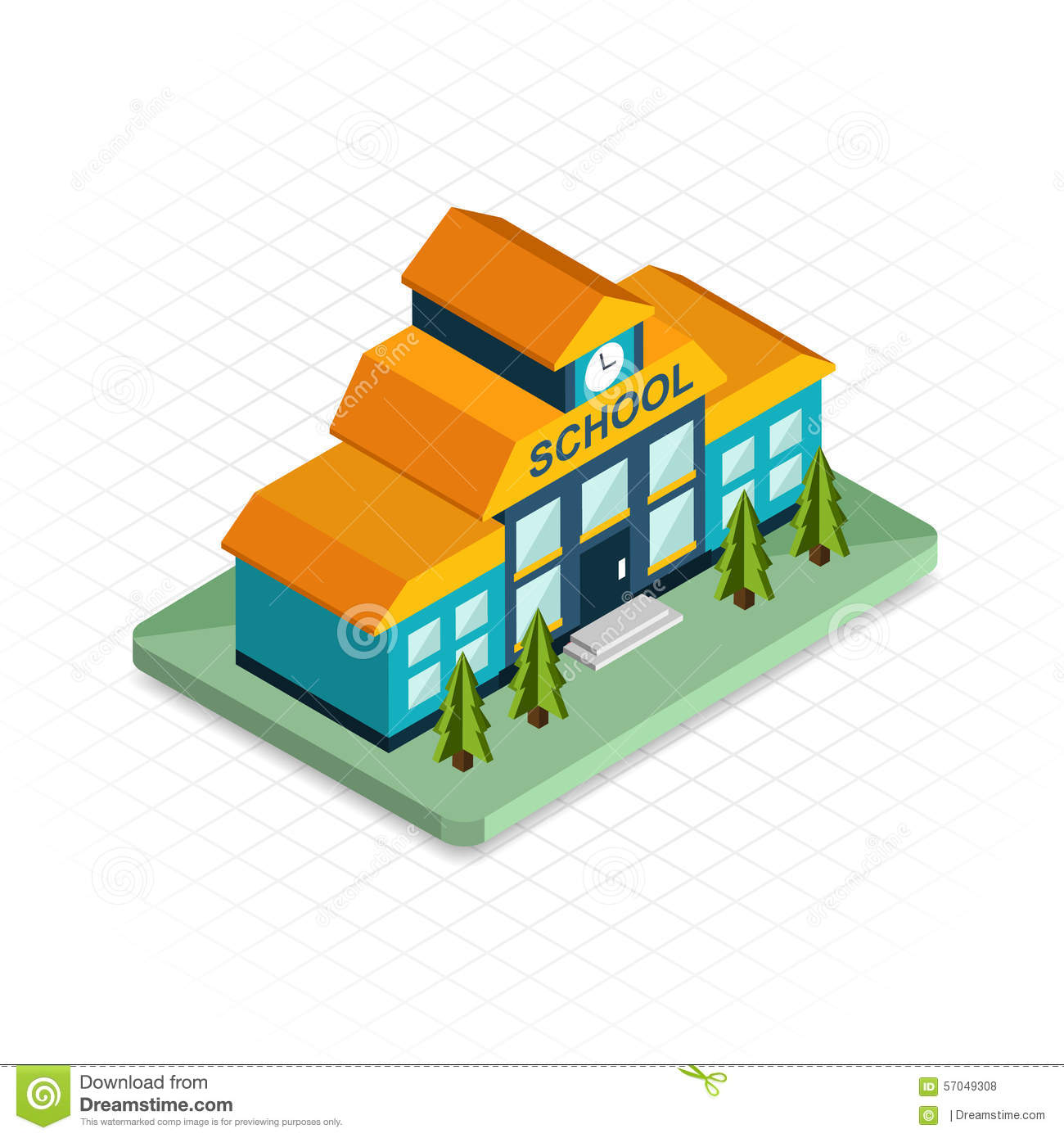 School building isometric 3d pixel design icon stock 3d drawing website
