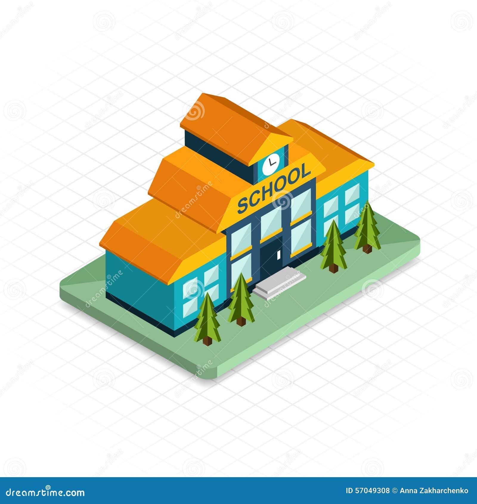School Building Isometric 3d Pixel Design Icon Stock