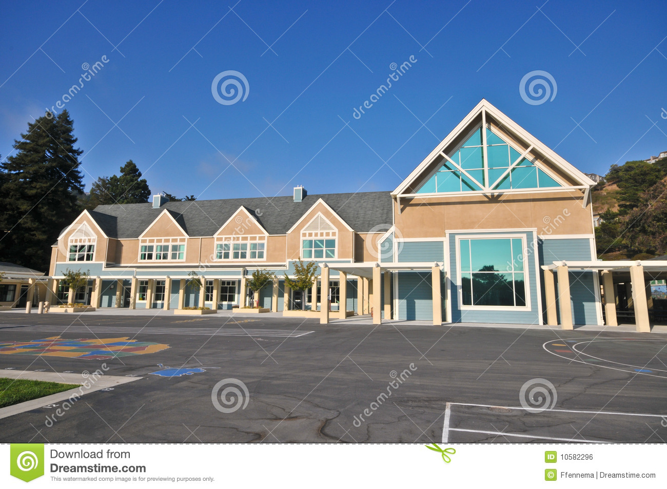 School Building With Playground Royalty Free Stock Image Image 10582296