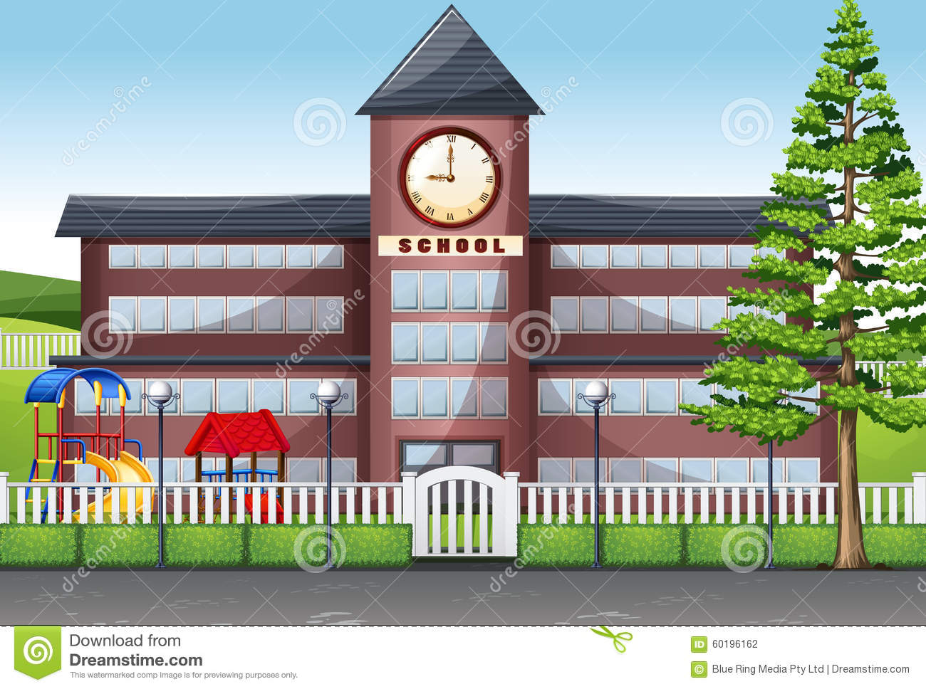 School Building And Playground Stock Vector Illustration 60196162
