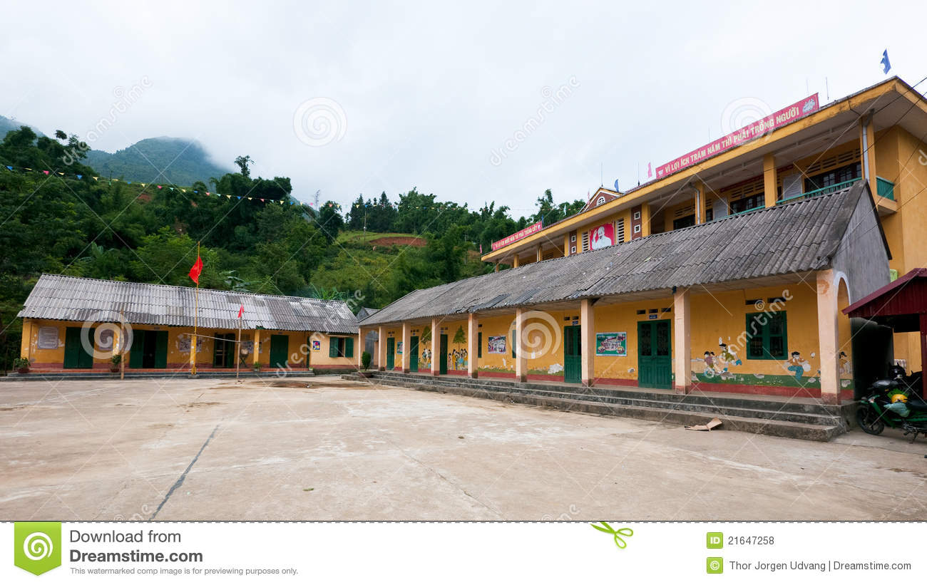 School building with political slogans in sapa valley vietnam
