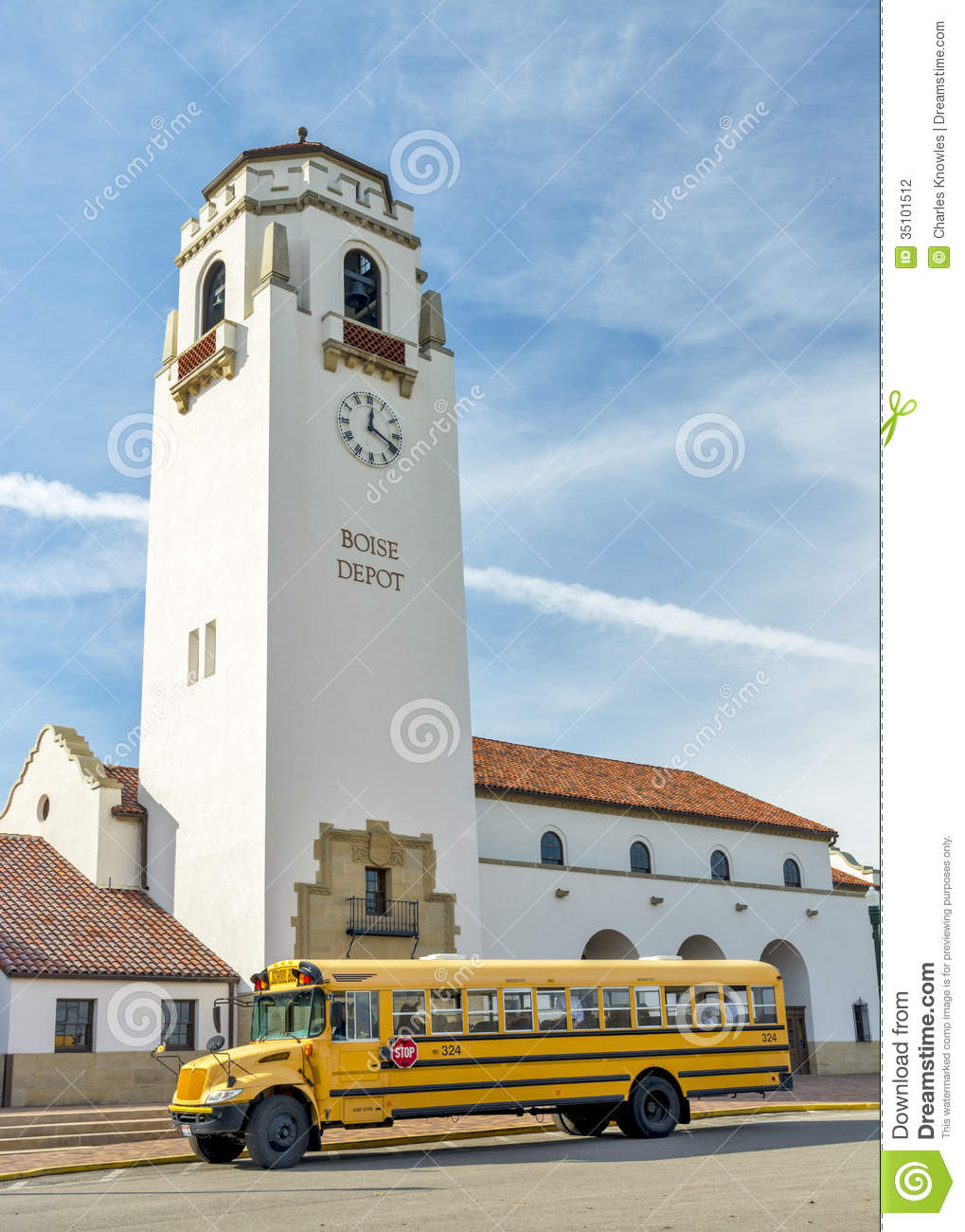school bus and boise train depot stock photo image 35101512. Black Bedroom Furniture Sets. Home Design Ideas