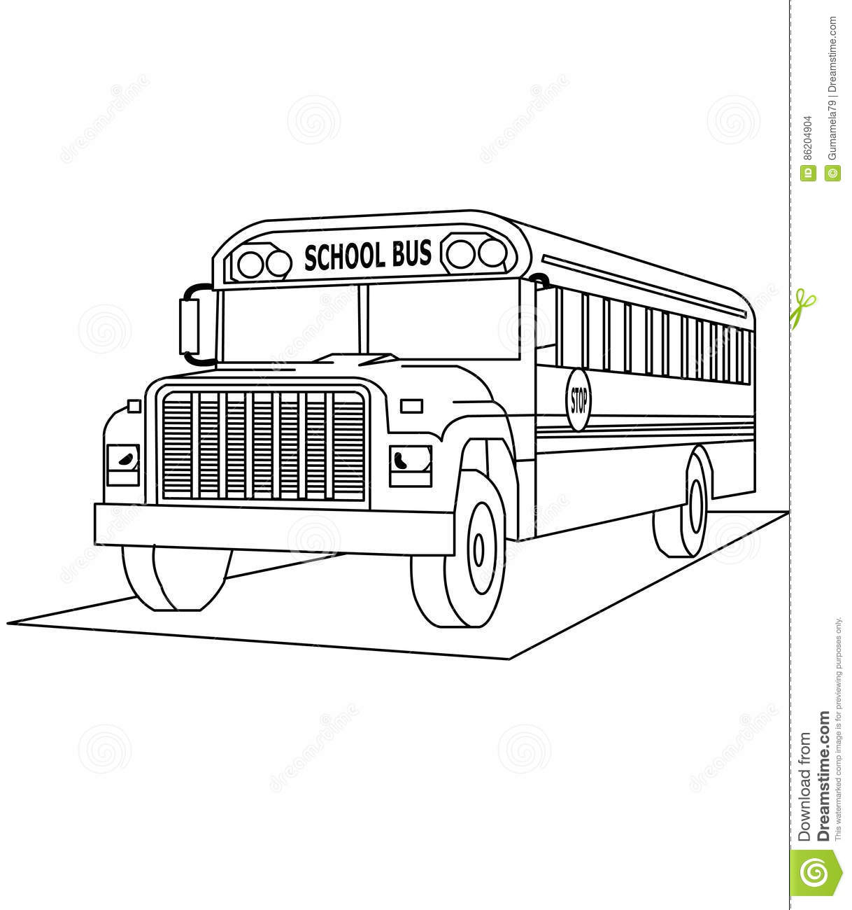School bus coloring page stock illustration. Illustration of ...
