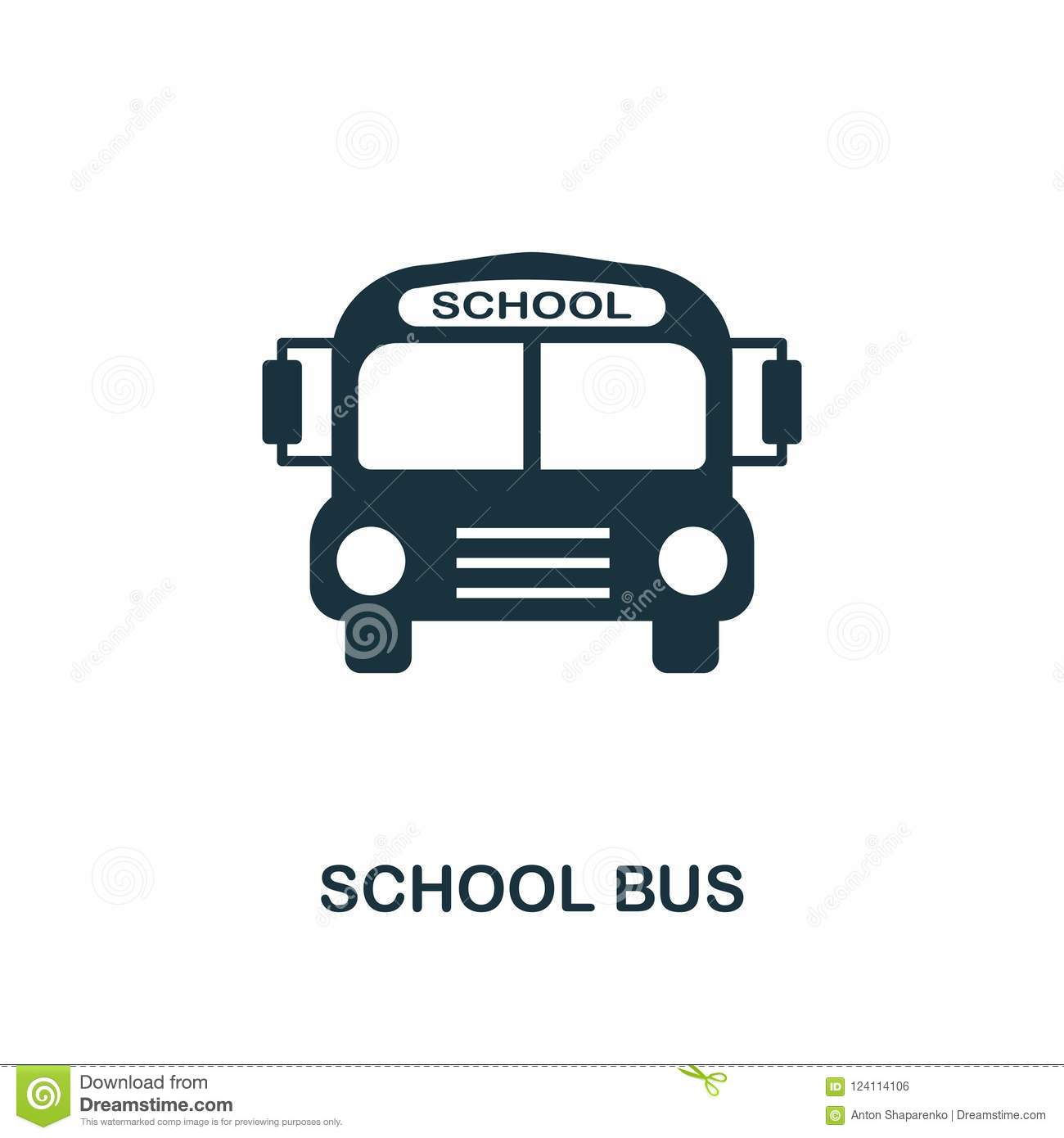 School Bus Icon Monochrome Style Icon Design From School Icon Collection Ui Illustration Of School Bus Icon Pictogram Isolated Stock Illustration Illustration Of Black Style 124114106