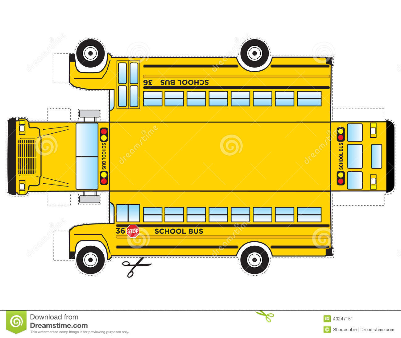 This is a school bus that can be cut out and glued/taped to become a 3 ...