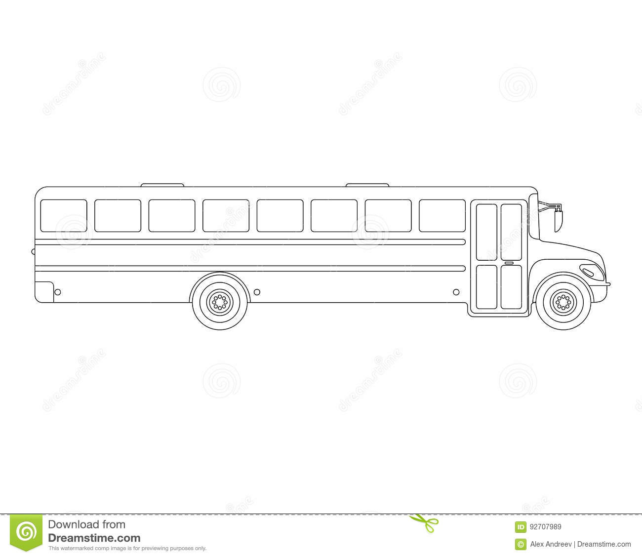 School Bus Flat Icon And Logo . Outline Vector Illustration