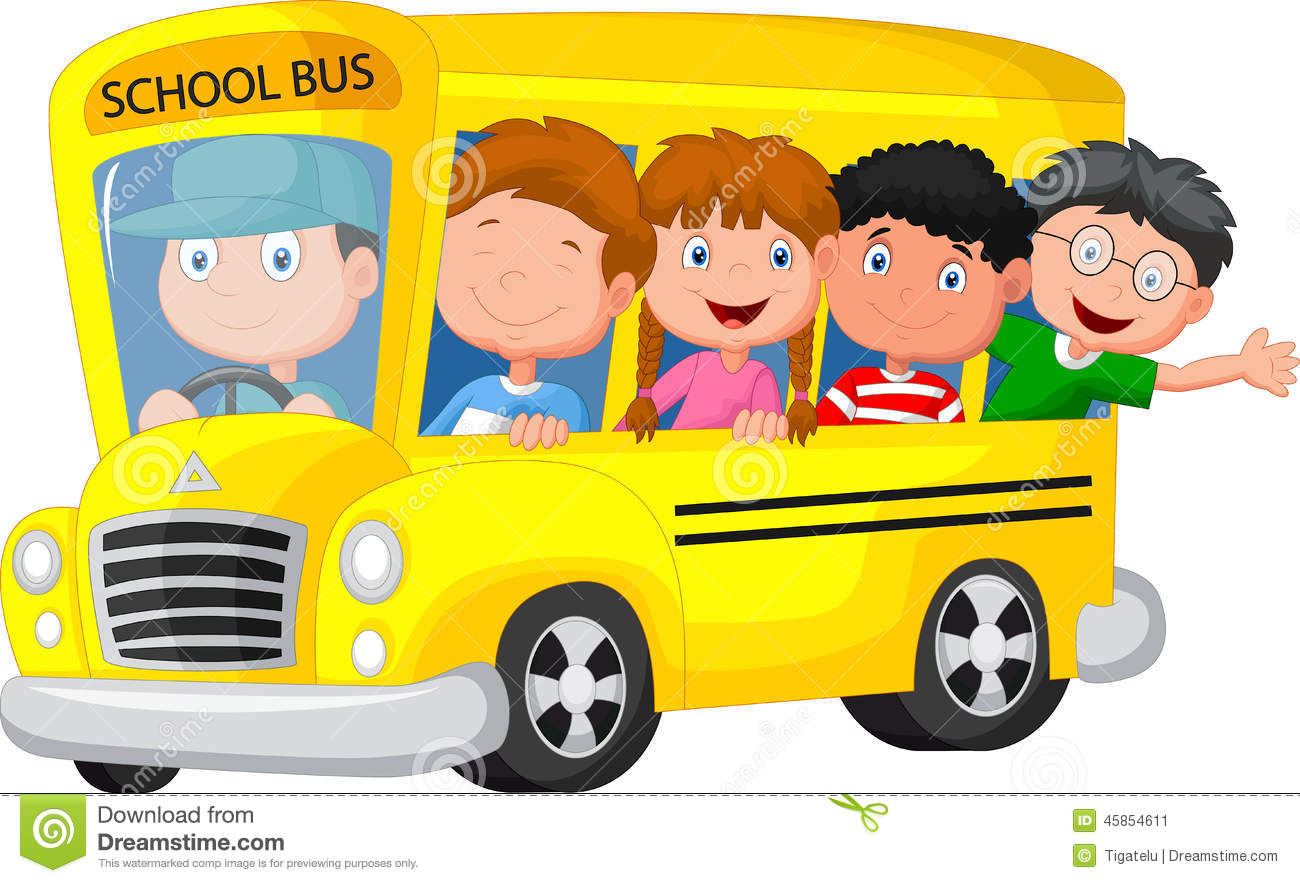 School Bus With Happy Children Cartoon Stock Vector