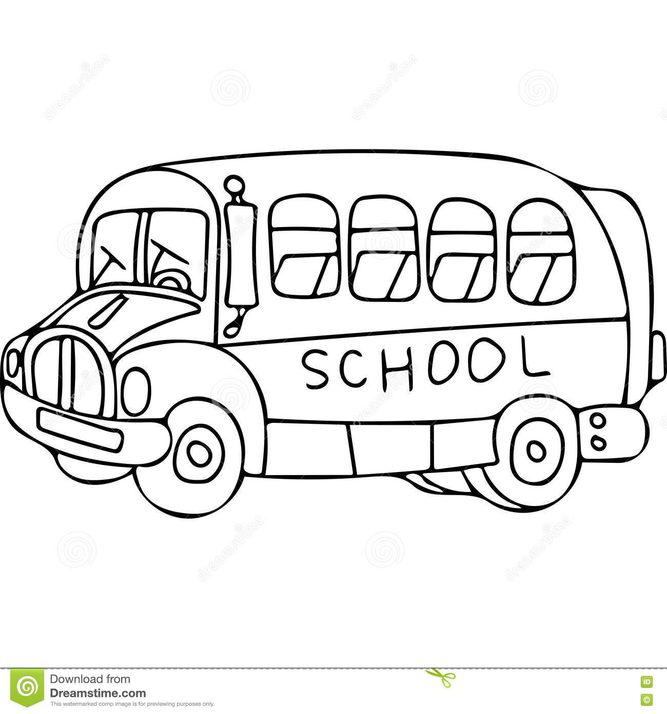 School Bus Kids Coloring Pages Stock Illustration ...