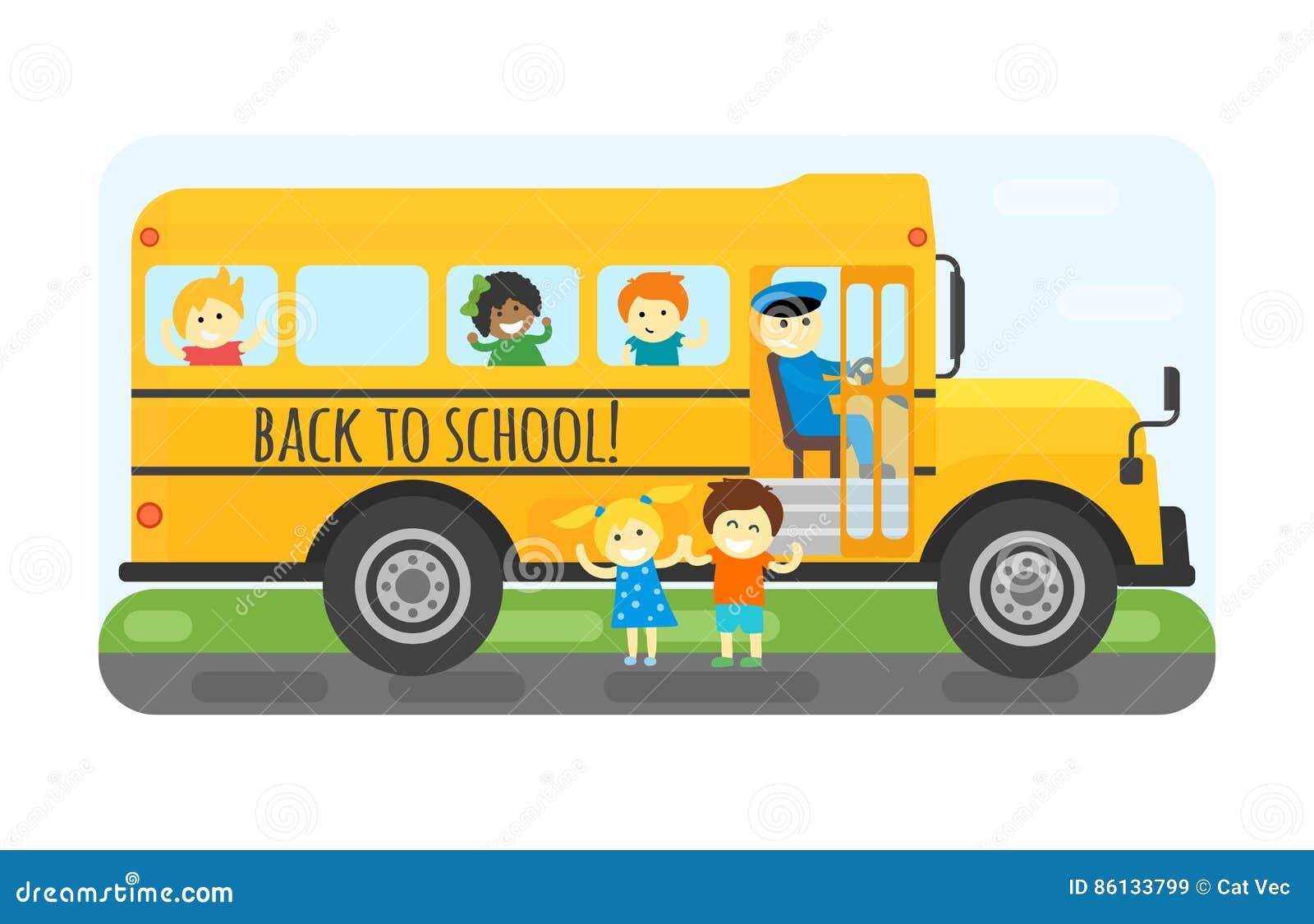 School Bus Kids Transport Vector Illustration  Stock Vector