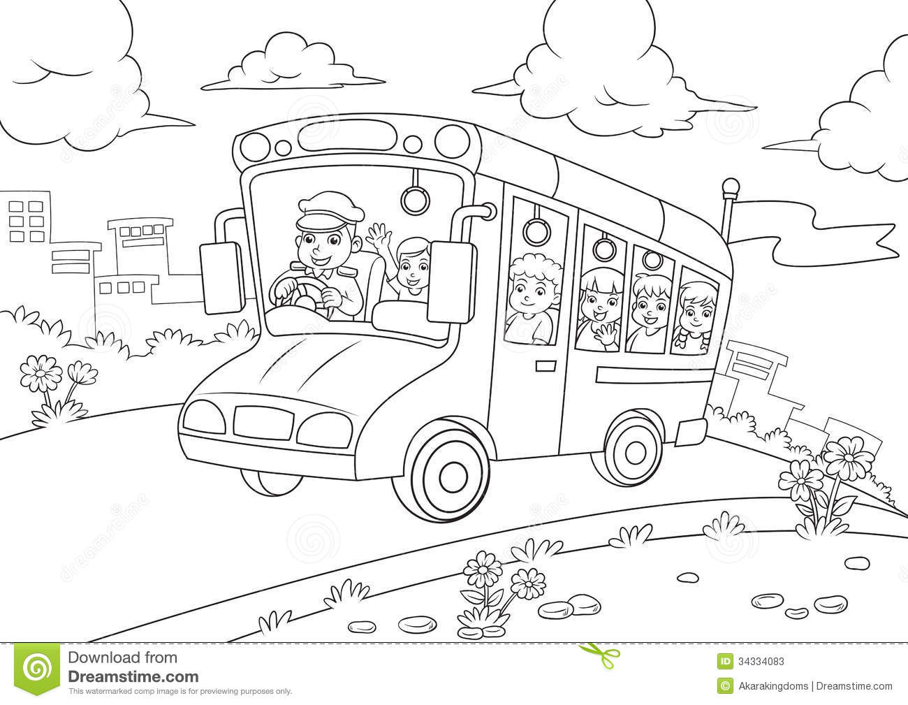 Coloring book school - Book Bus Coloring Outline School