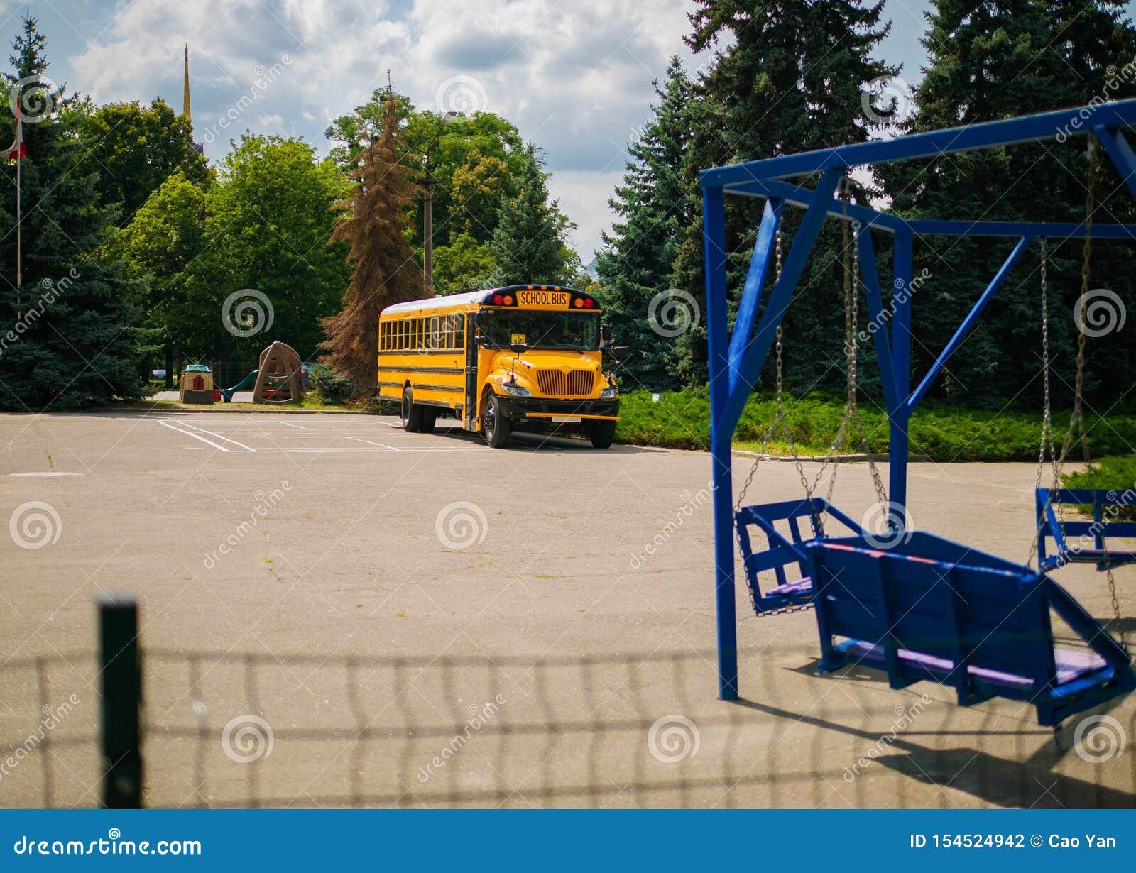 School bus parked by the school in Ukraine.