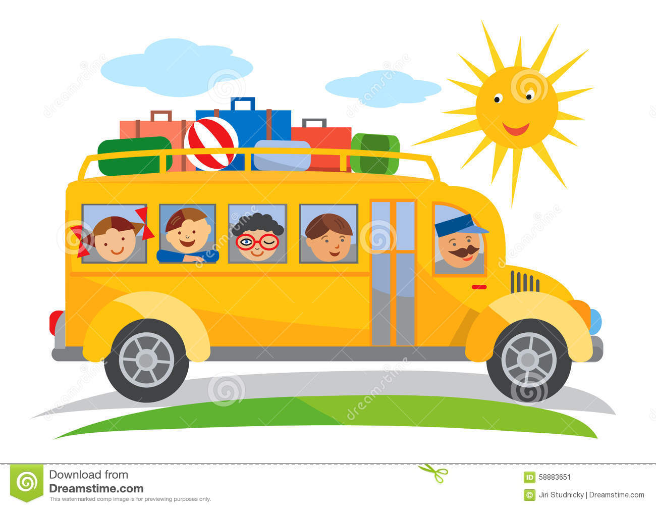 Cartoon of yellow School bus traveling on a school trip. Vector ...