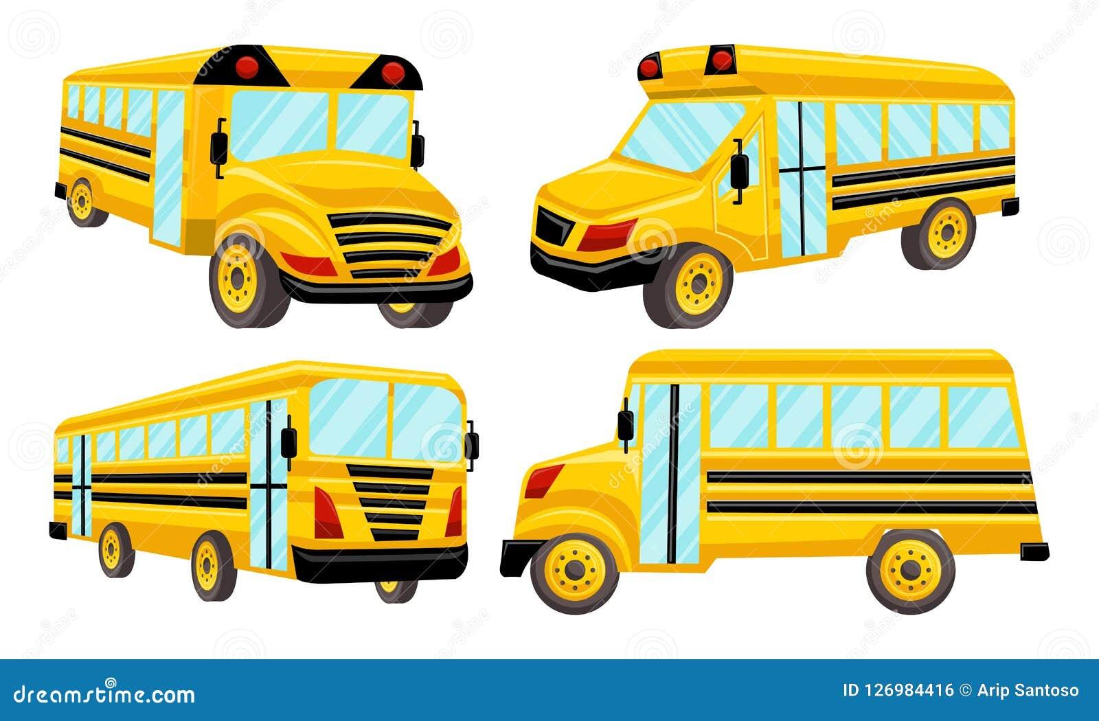 school bus template vector isolated design set stock vector