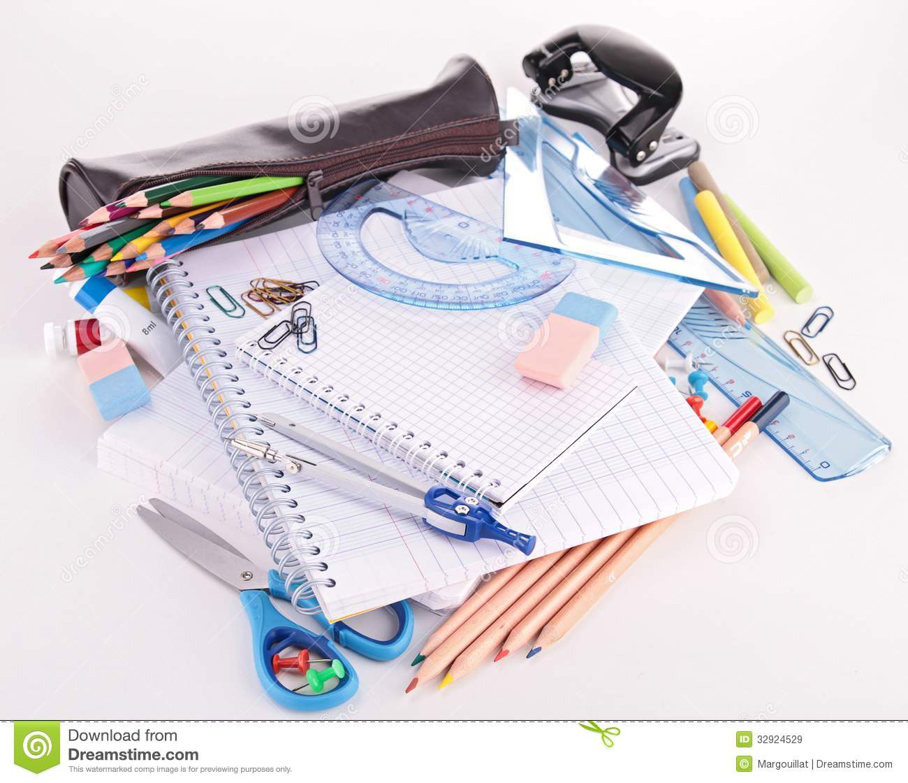 school or business supplies stock image