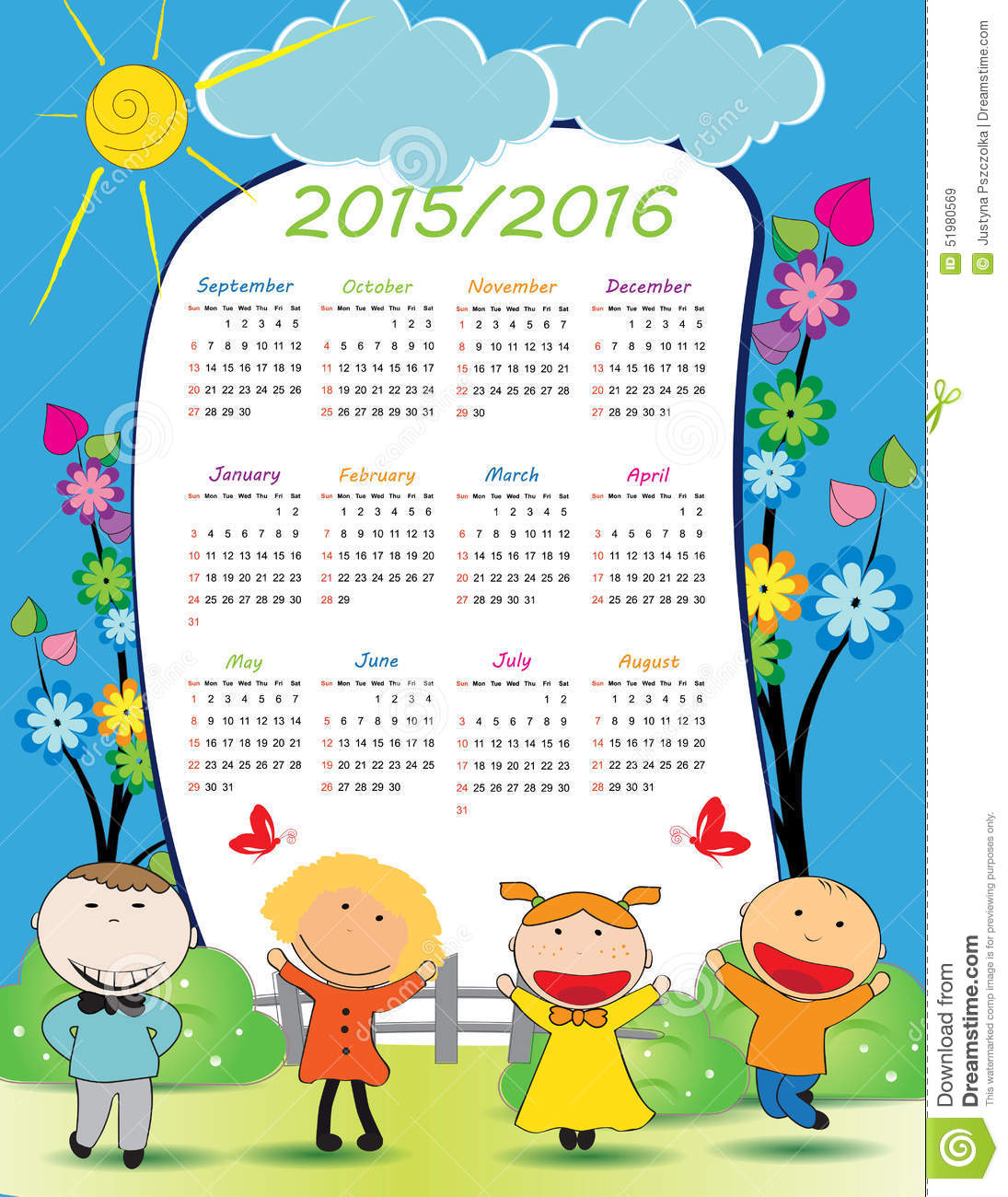 school calendar on new year school from 2015 to 2016 year
