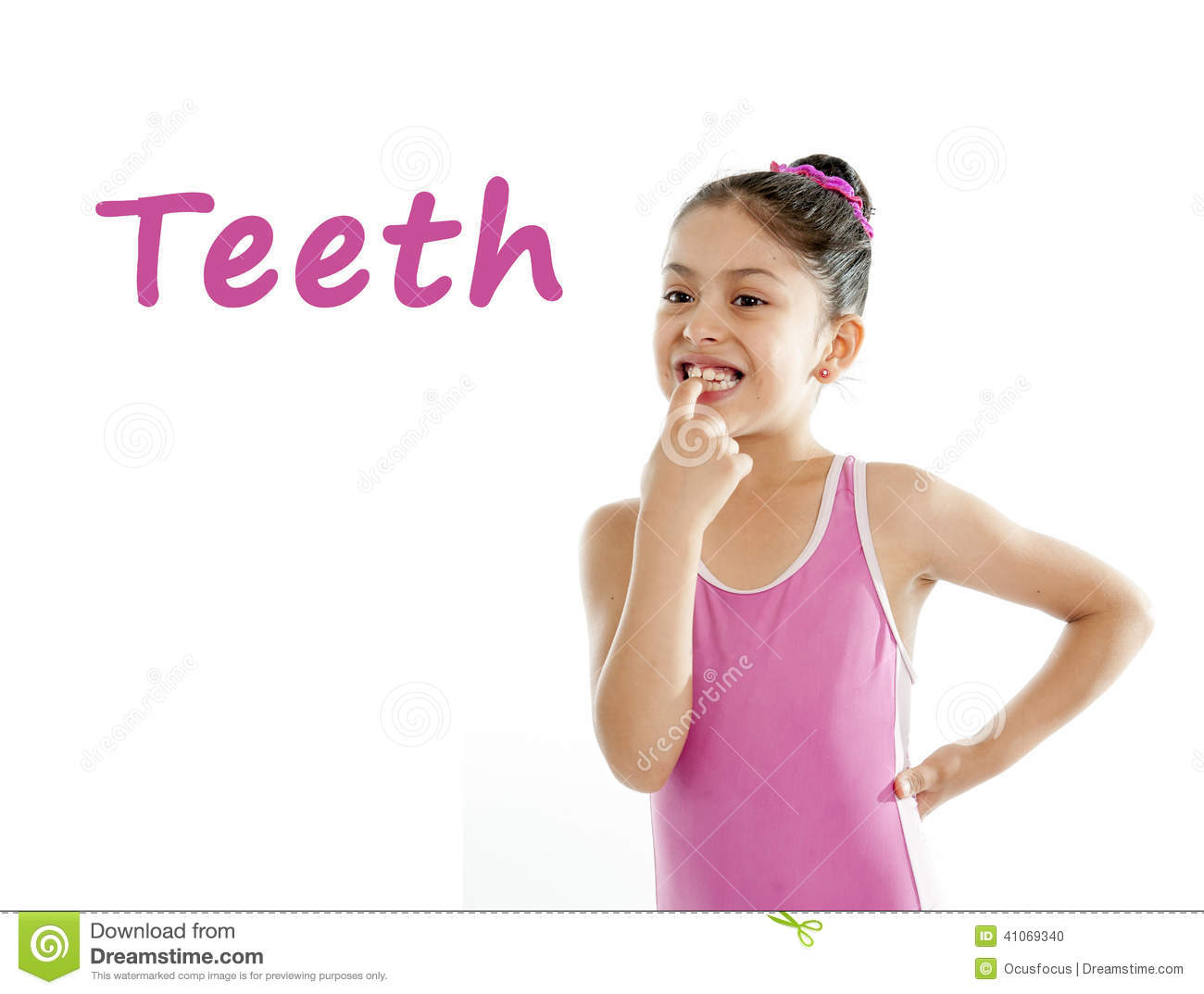 School card of girl pointing at her mouth and teeth on white background