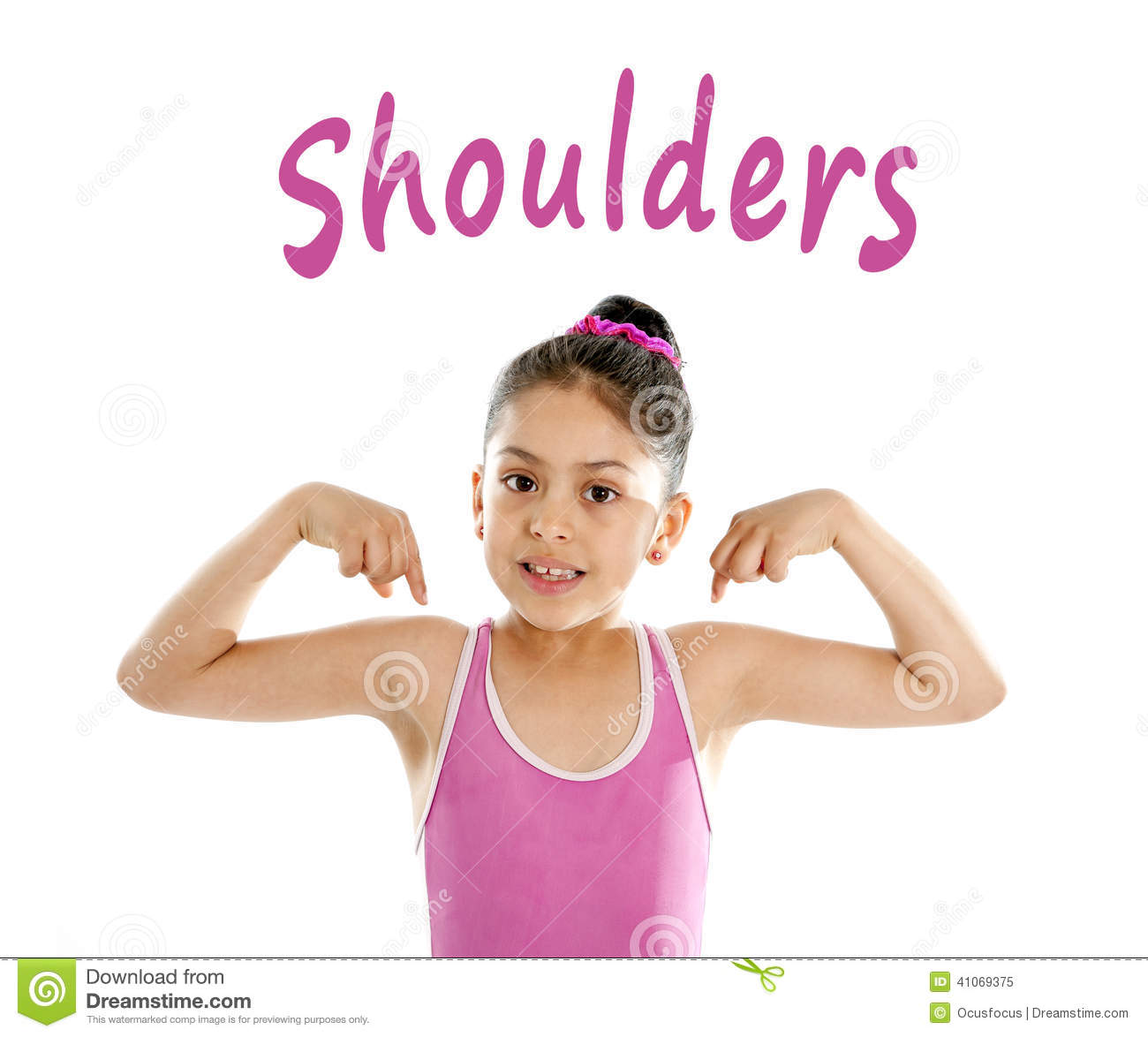 School card of girl pointing at her shoulder isolated on white background