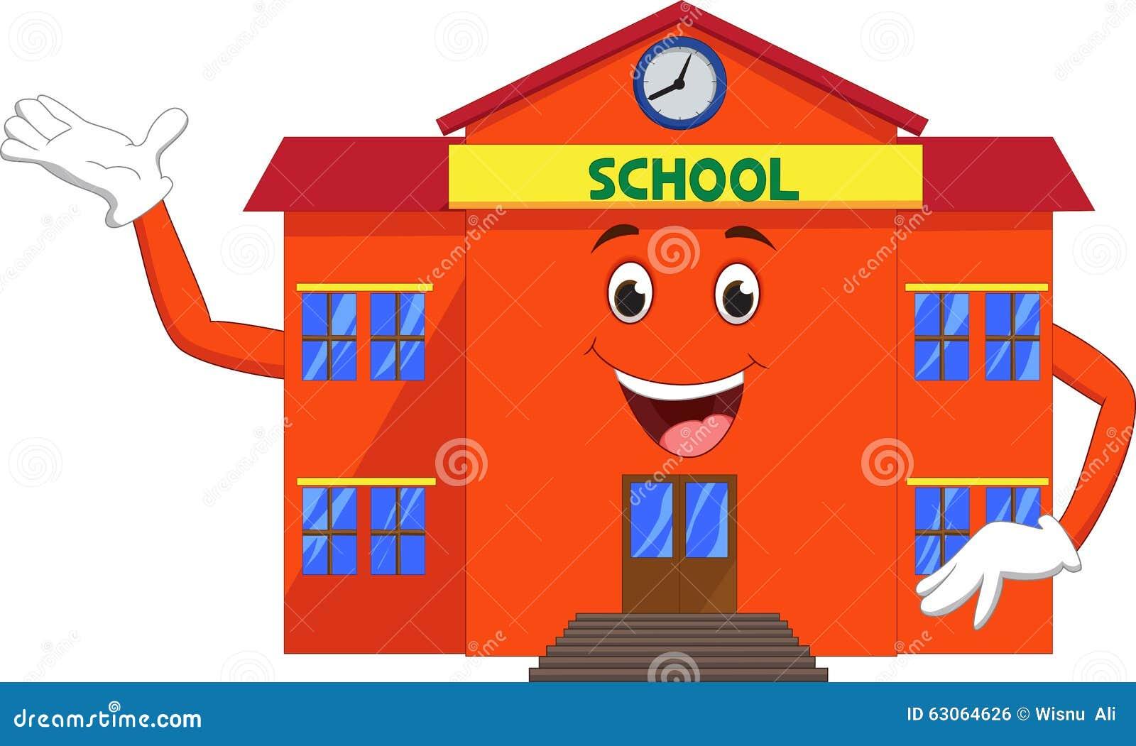 School Cartoon Waving Stock Vector Image 63064626