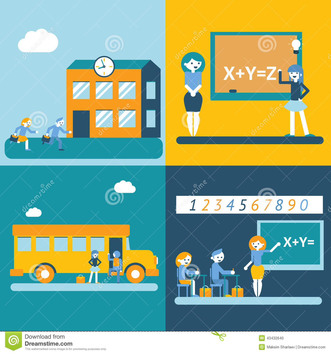 Modern Concept Of Classroom Management ~ School character scenes concept icons set modern trendy