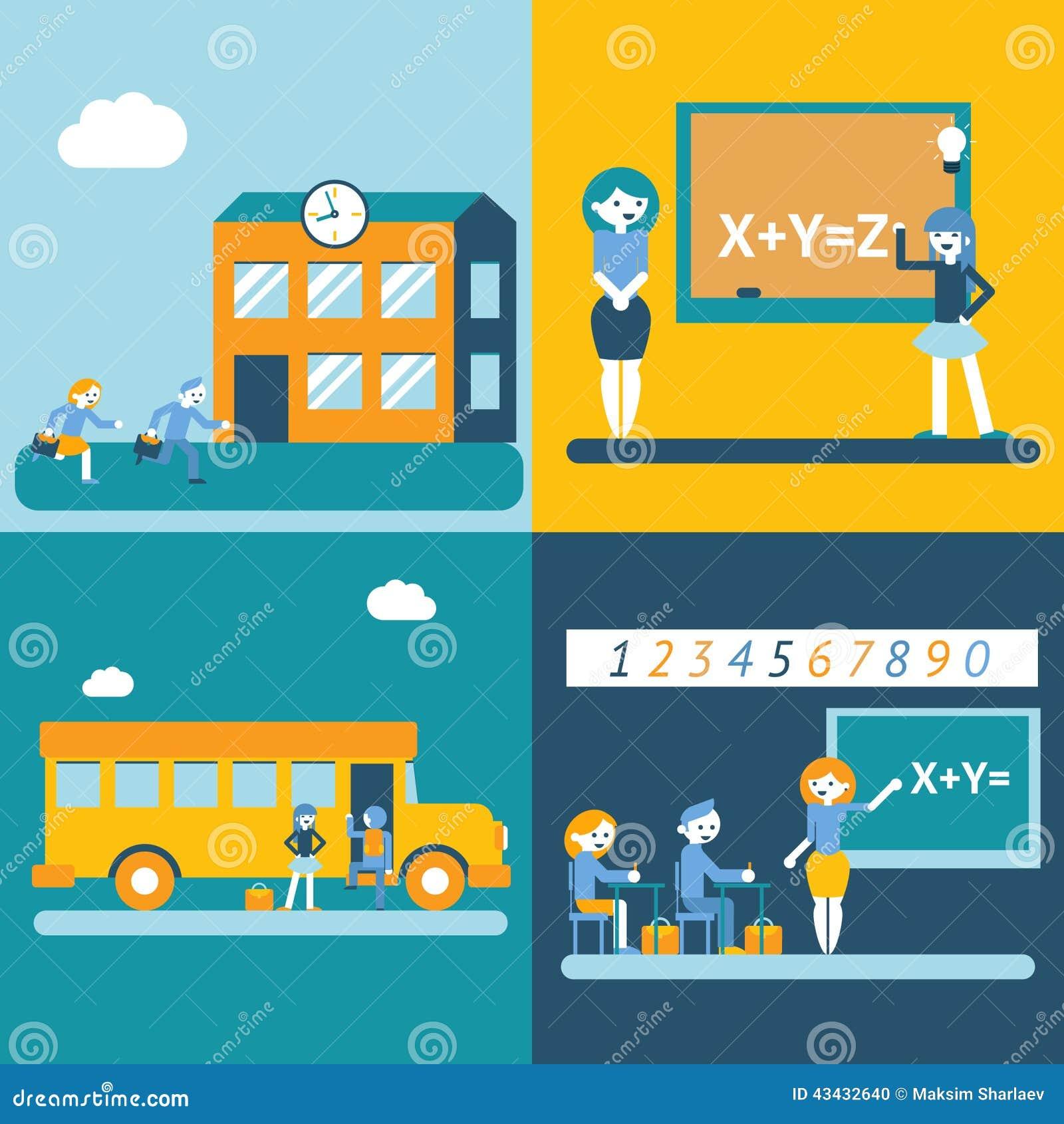 Modern Classroom Vector ~ School character scenes concept icons set modern trendy