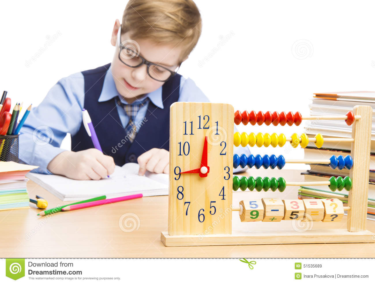 School Child Pupil Education, Clock Abacus, Students Boy Writing Stock ...