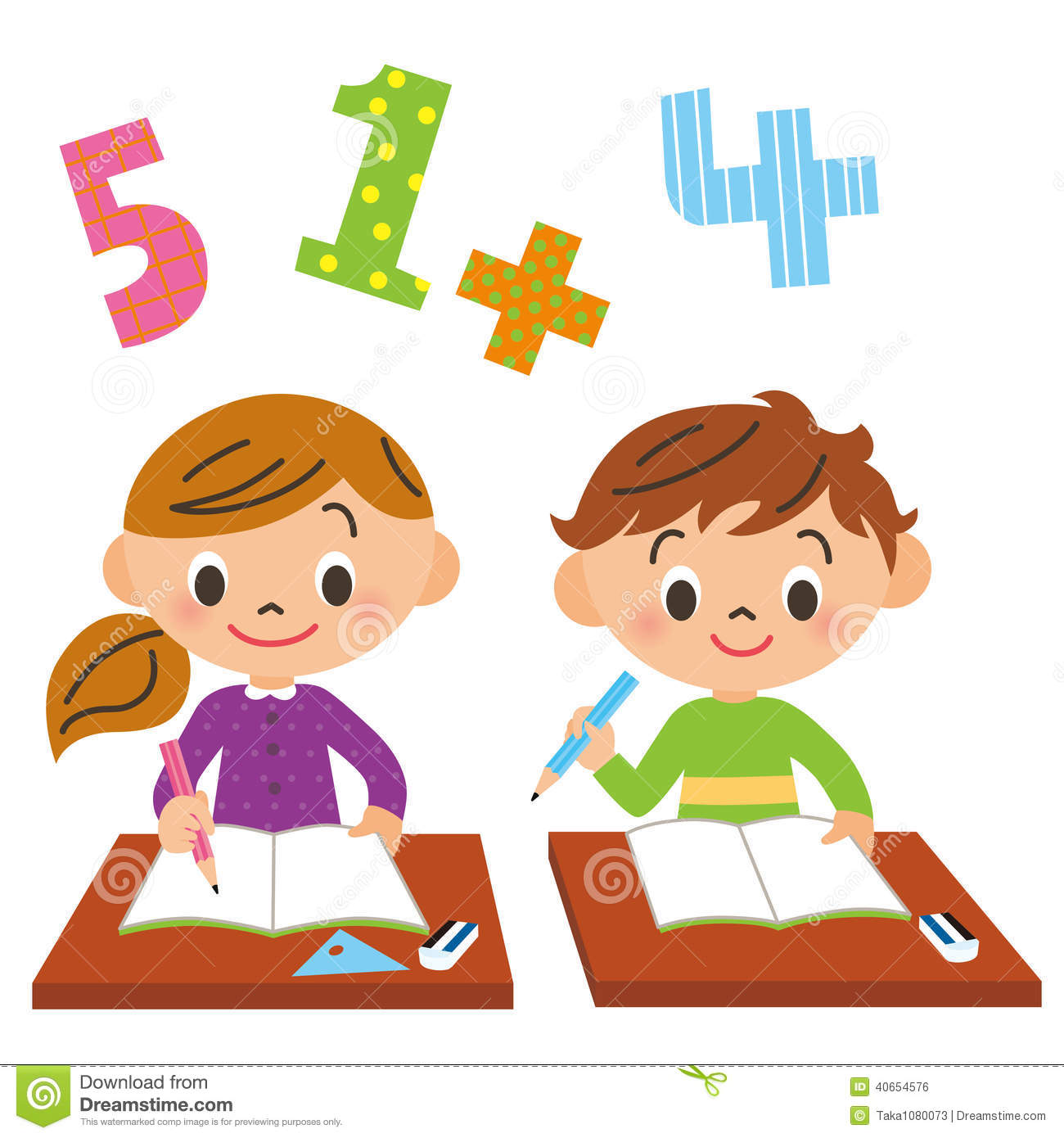 School, Child, Study Stock Vector - Image: 40654576
