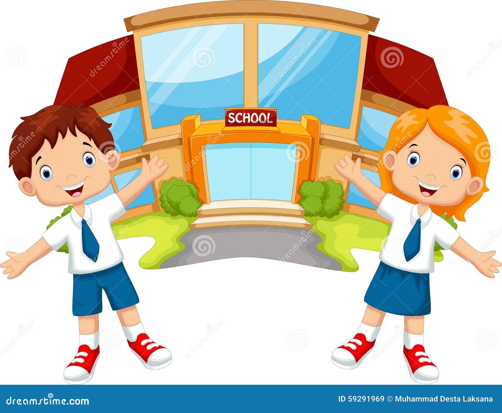 Elementary Classroom Themes ~ School children cartoon stock illustration image