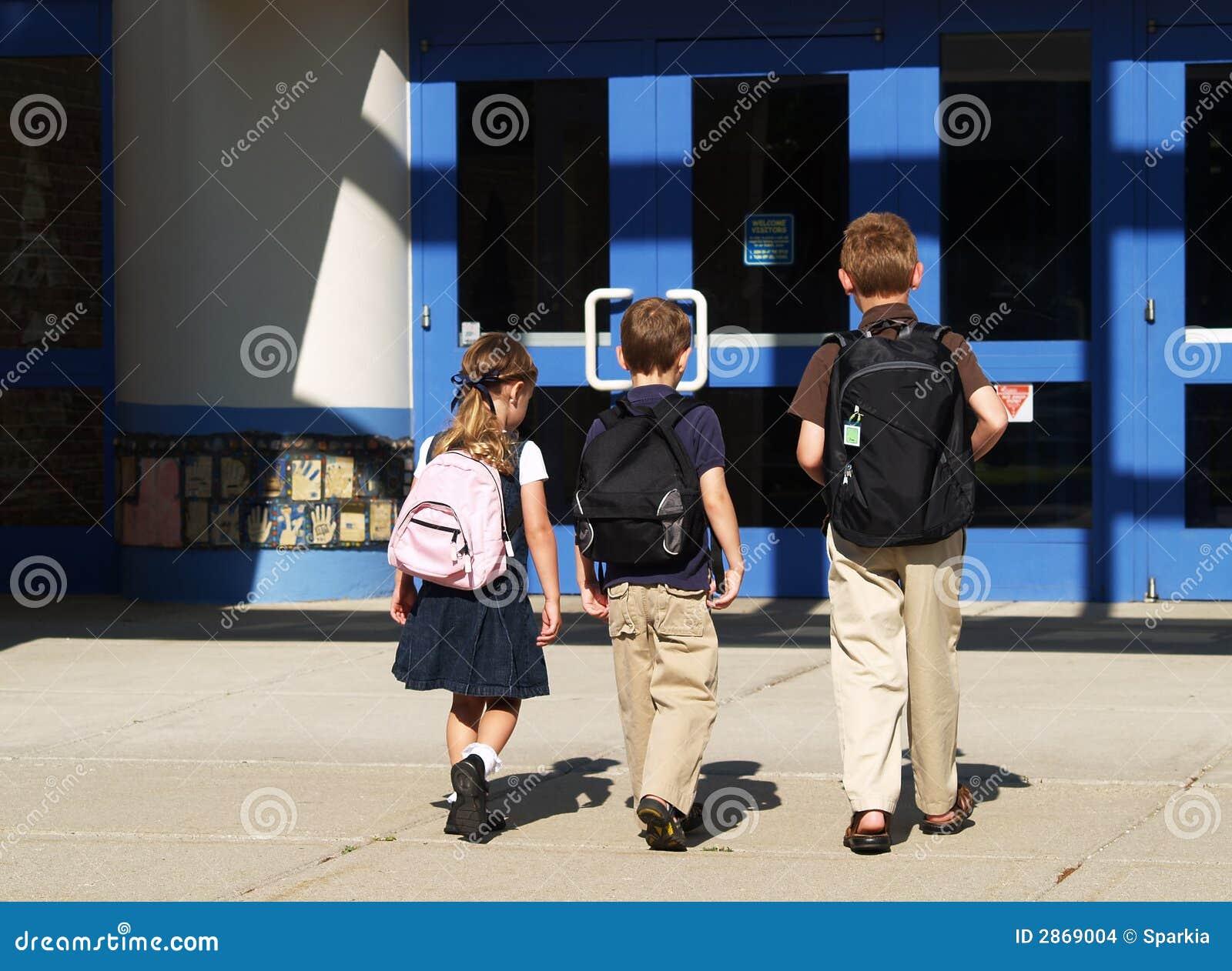 school children going in