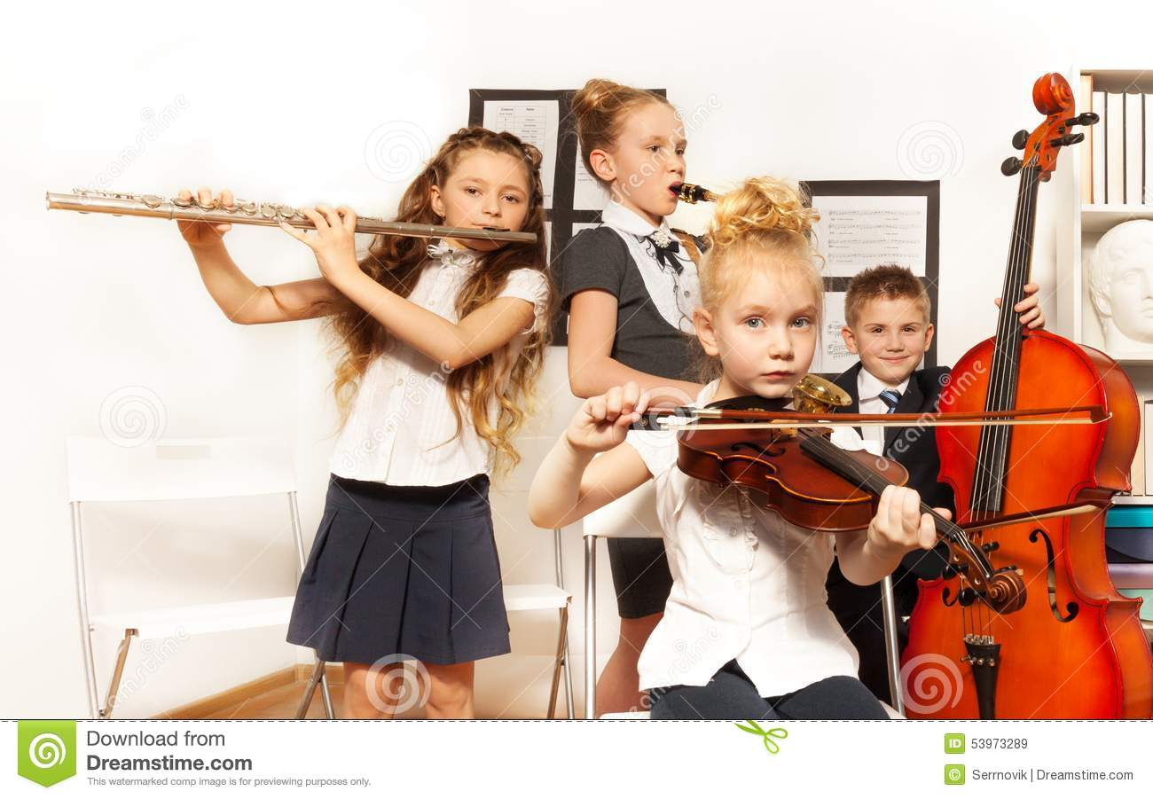 Worksheet Musical Instruments To Play school children play musical instruments together stock photo together