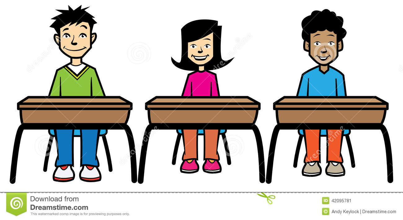 School Children Sat At Desks Stock Illustration Image