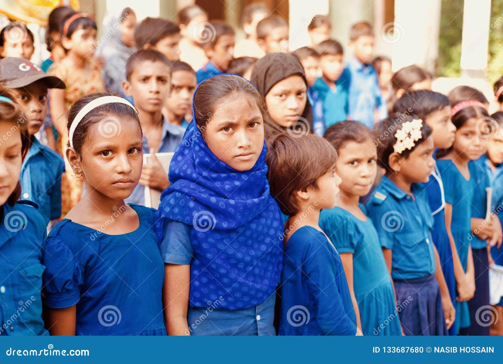 School children standing in a group unique photo