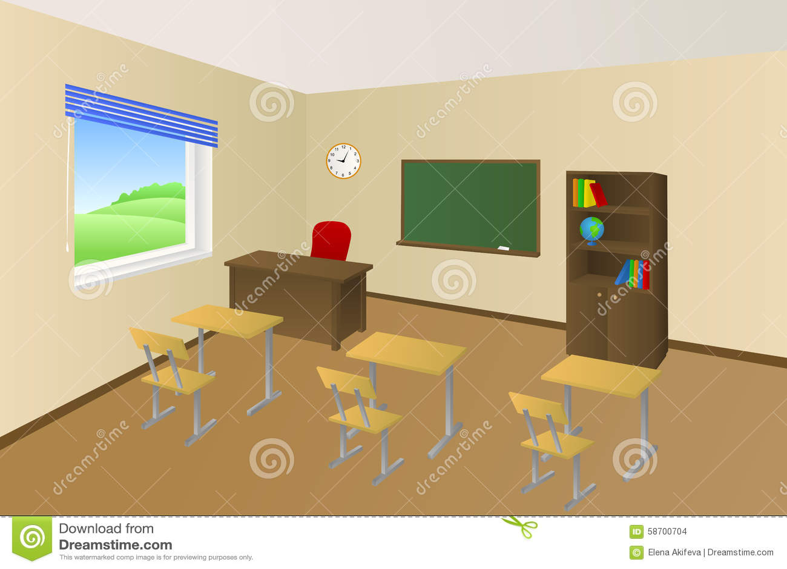 School Classroom Beige Education Table Chair Cabinet
