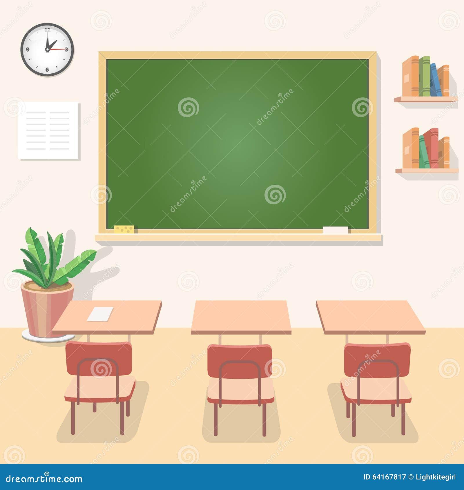 Modern Classroom Clipart ~ School classroom with chalkboard and desks class stock