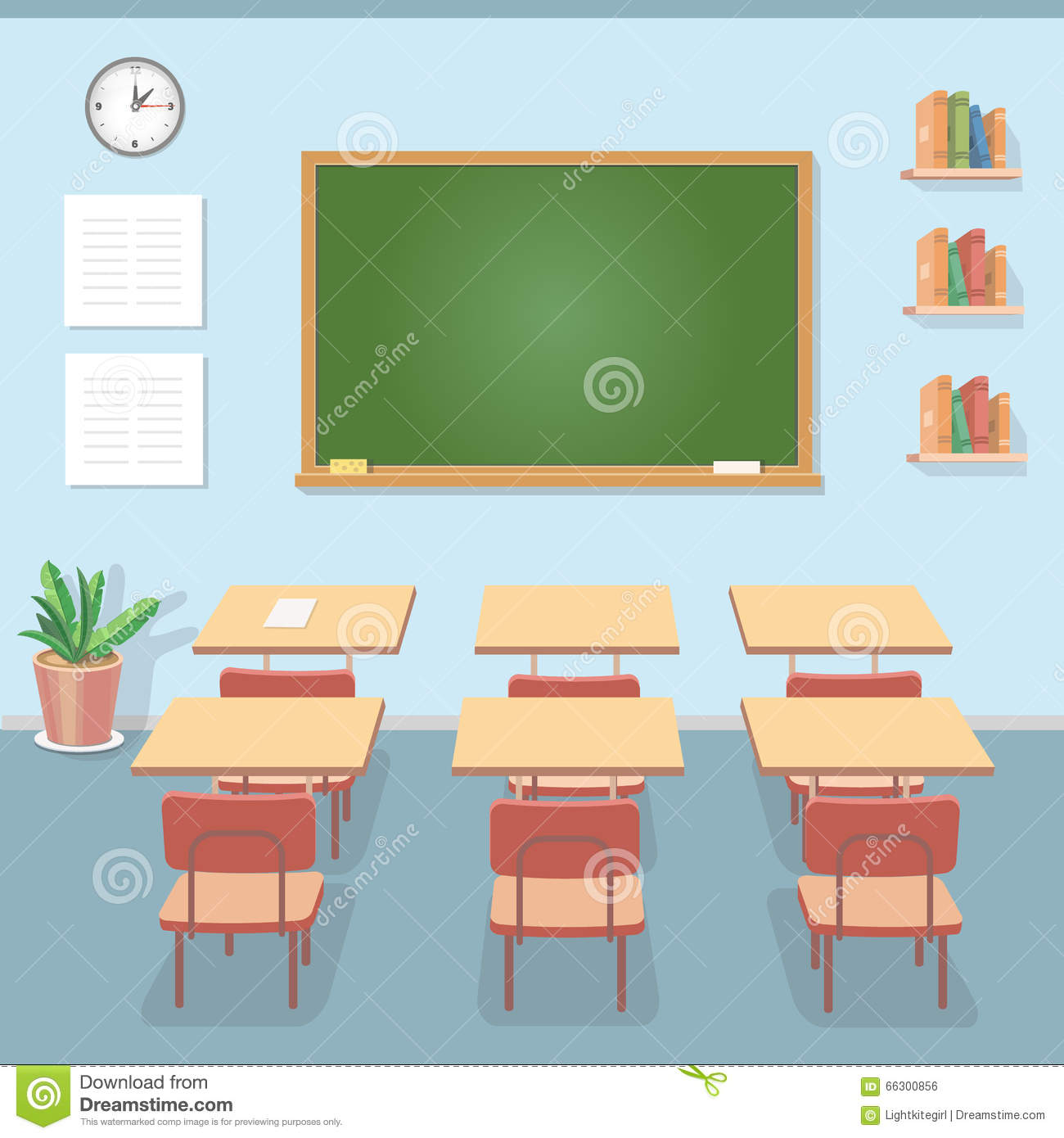 School Classroom With Chalkboard And Desks Class For