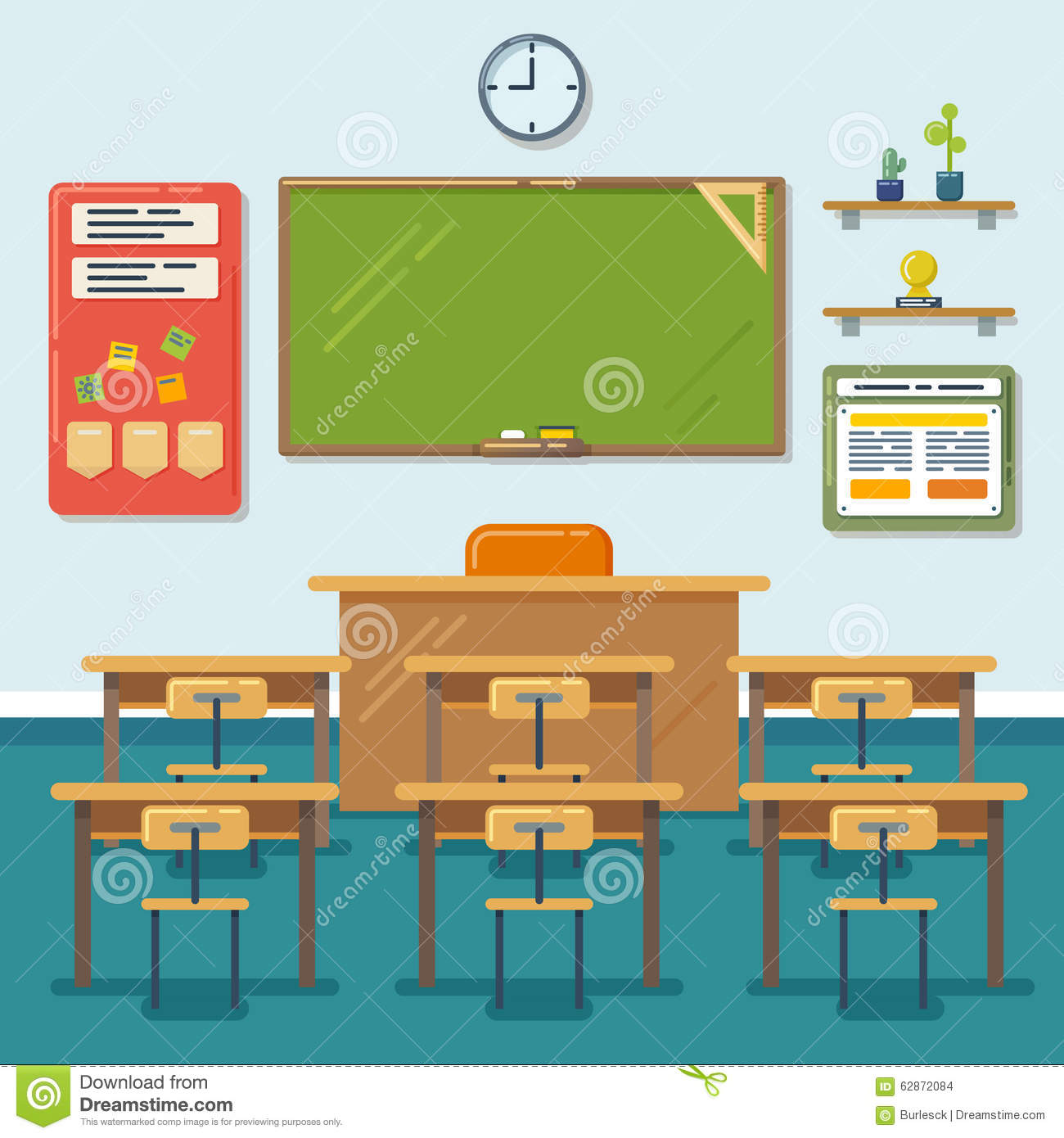 Modern Classroom Clipart : School classroom with chalkboard and desks vector stock