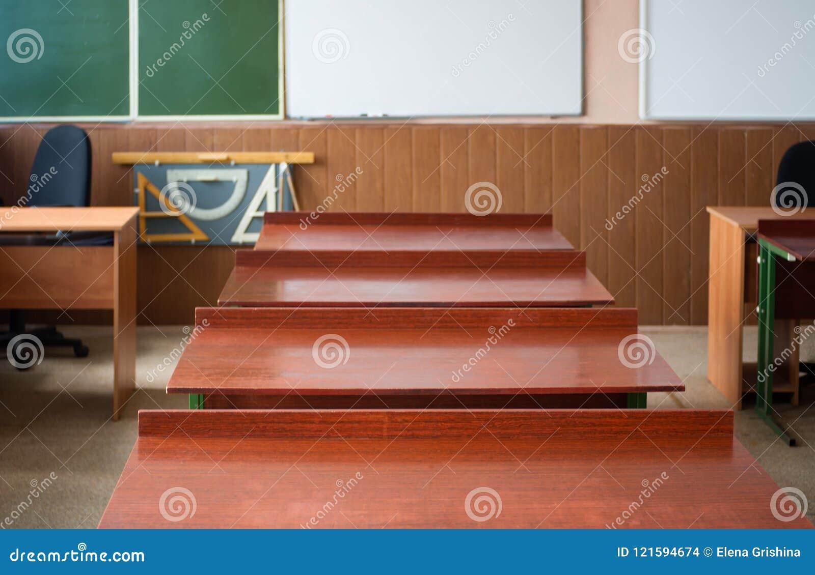 School Classroom With School Desks And Blackboard In High ...