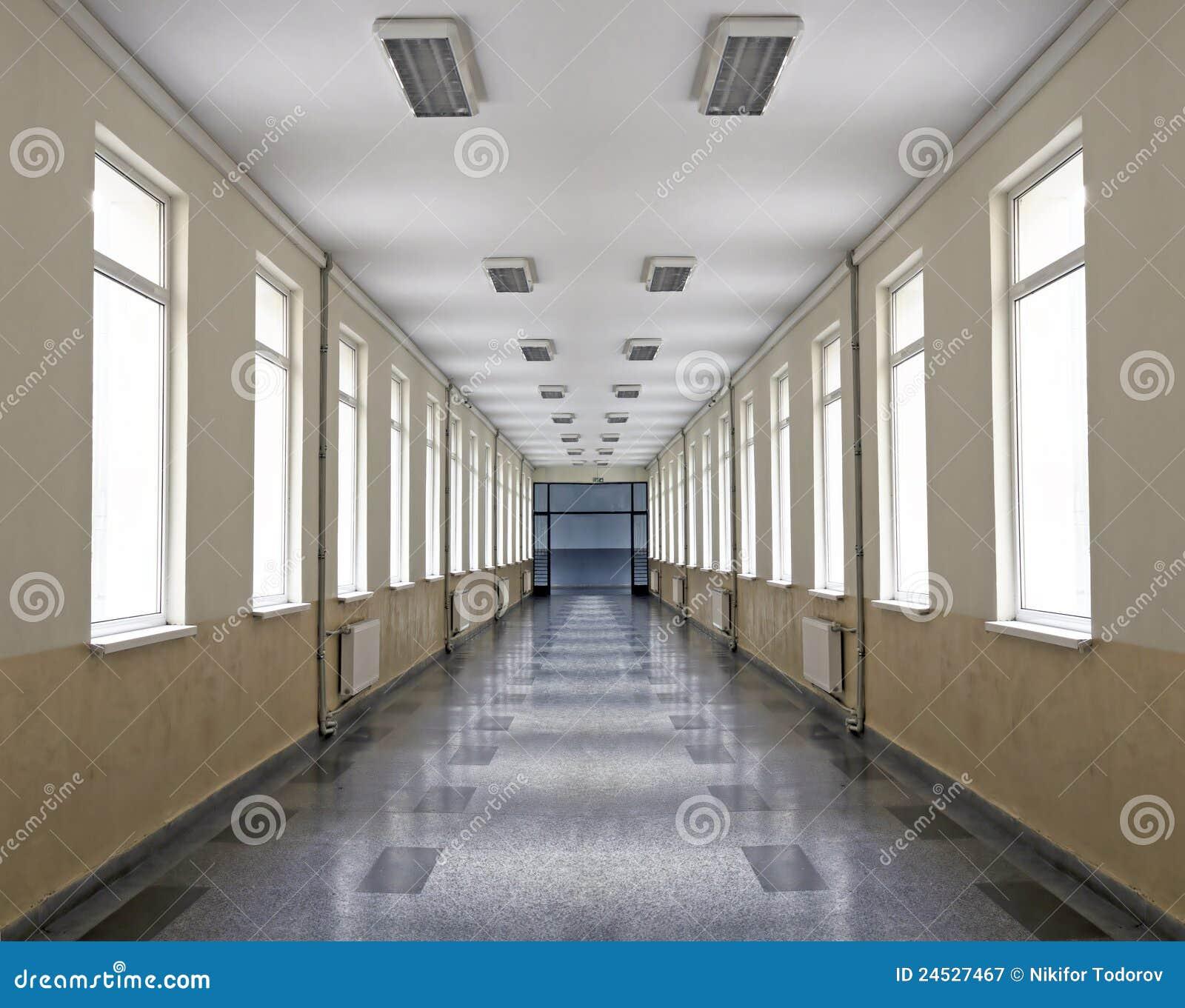 School Corridor Stock Image Image Of Linoleum Lighted