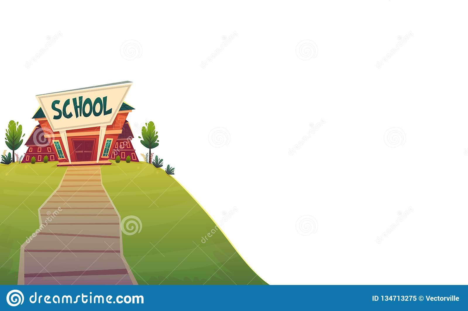 School . day of knowledge funny cartoon background , warm autumn education card cover in red green bright colours isolated on whi