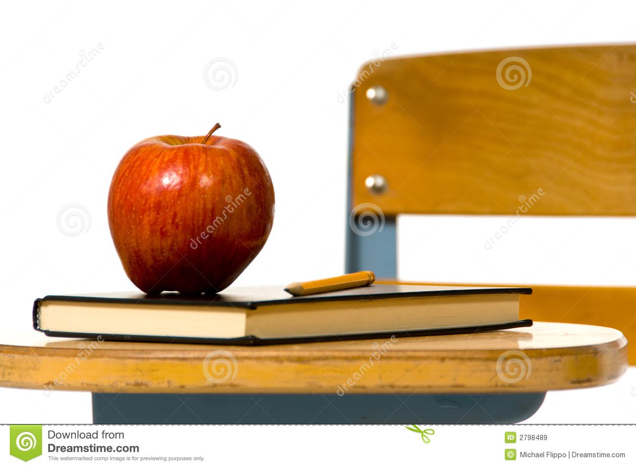 School Desk With Apple Royalty Free Stock Image