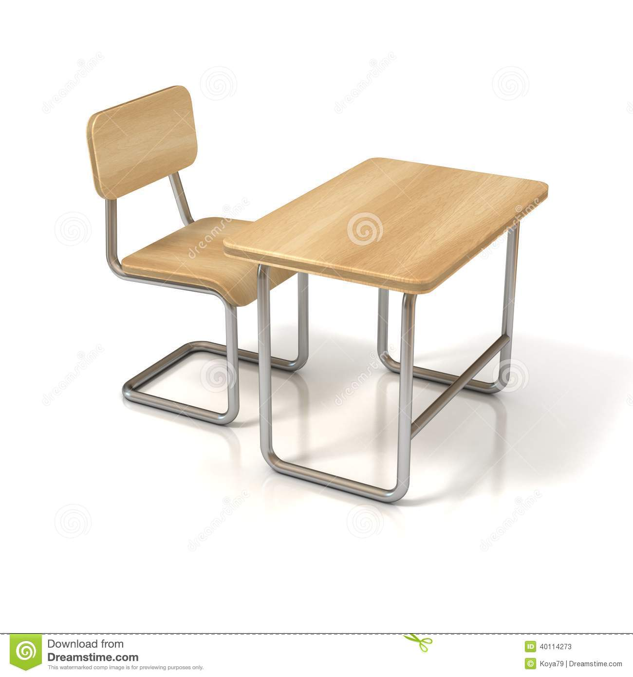 School desk and chair on white background. School Desk Background