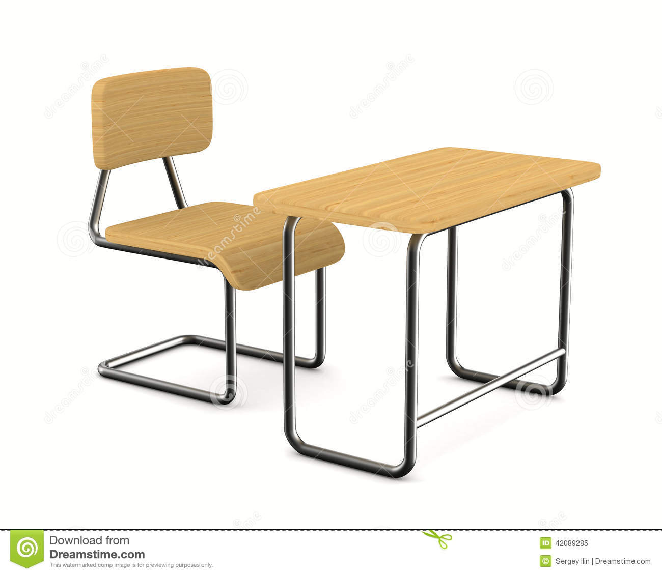 School Desk And Chair On White Background Stock Illustration - Image ... School Desk Background