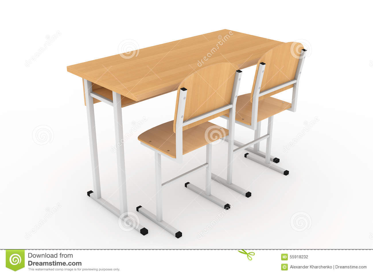 School Desk and Chairs on a white background. School Desk Background