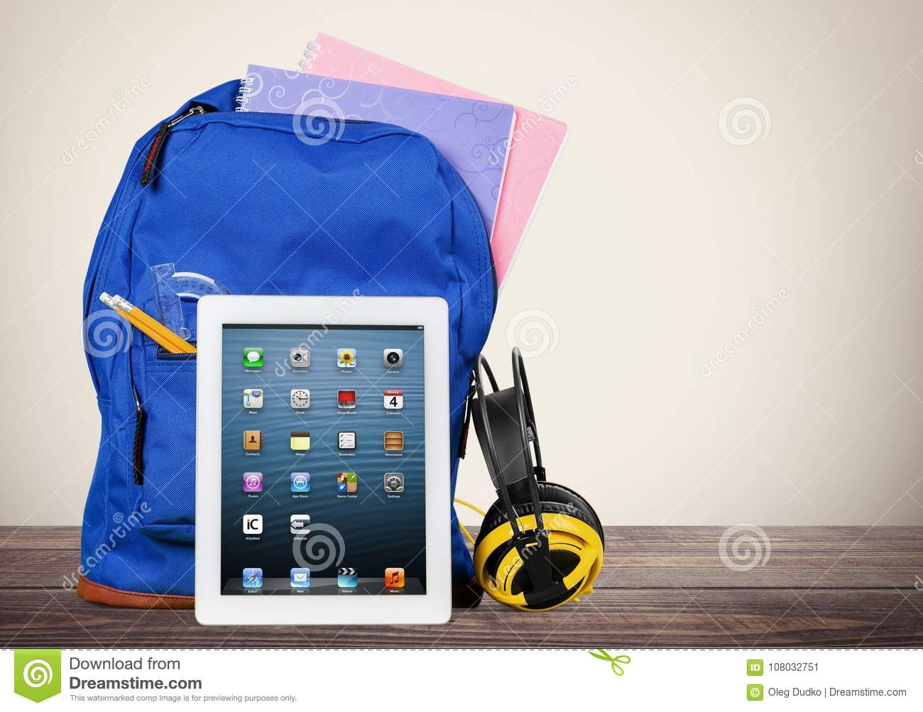 Digital Tablet And School Supplies In Backpack Stock Image Image
