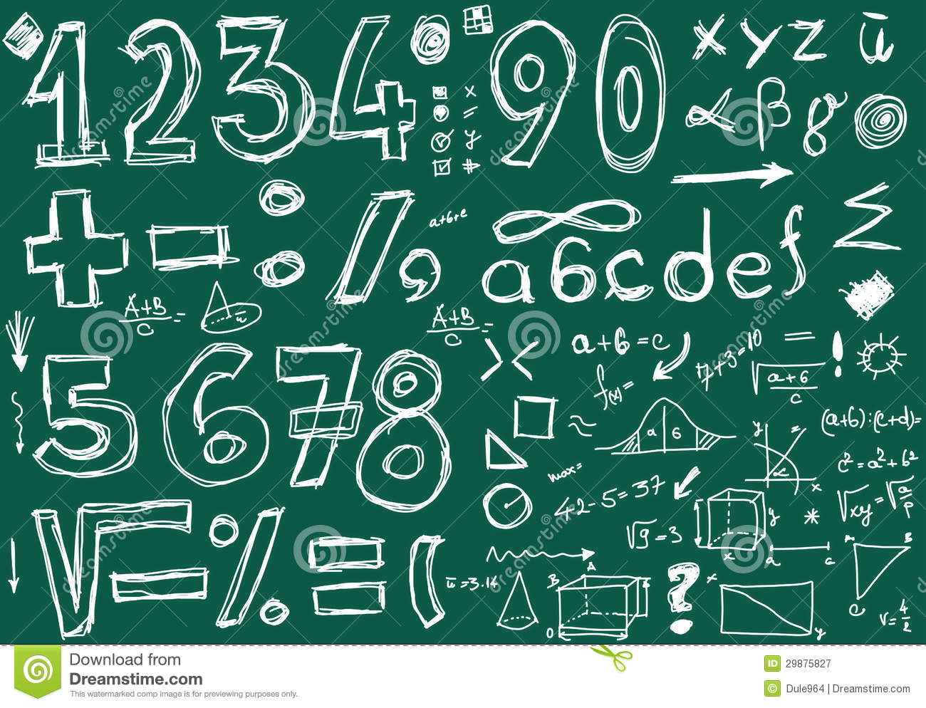 Chalk numbers and mathematical symbols on the stock vector doodle numbers and mathematical symbols royalty free stock photography biocorpaavc