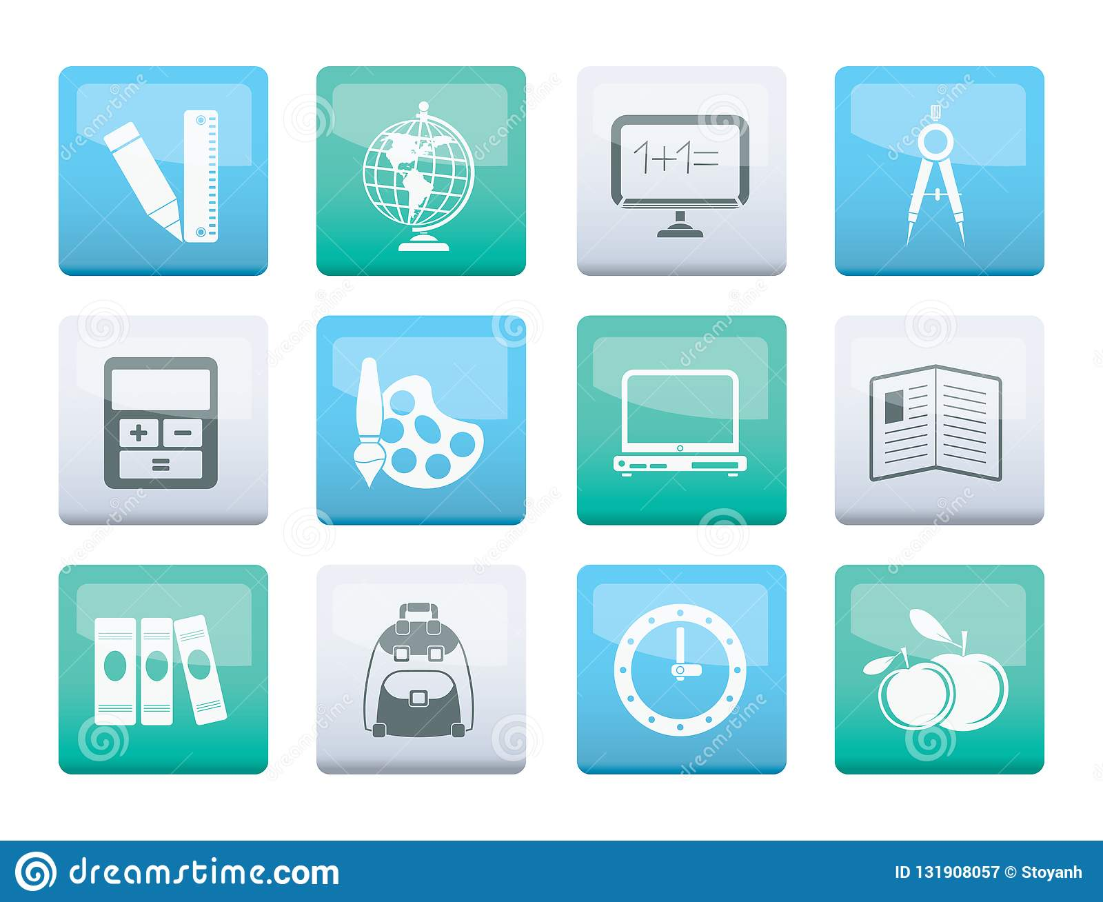 School and education icons over color background