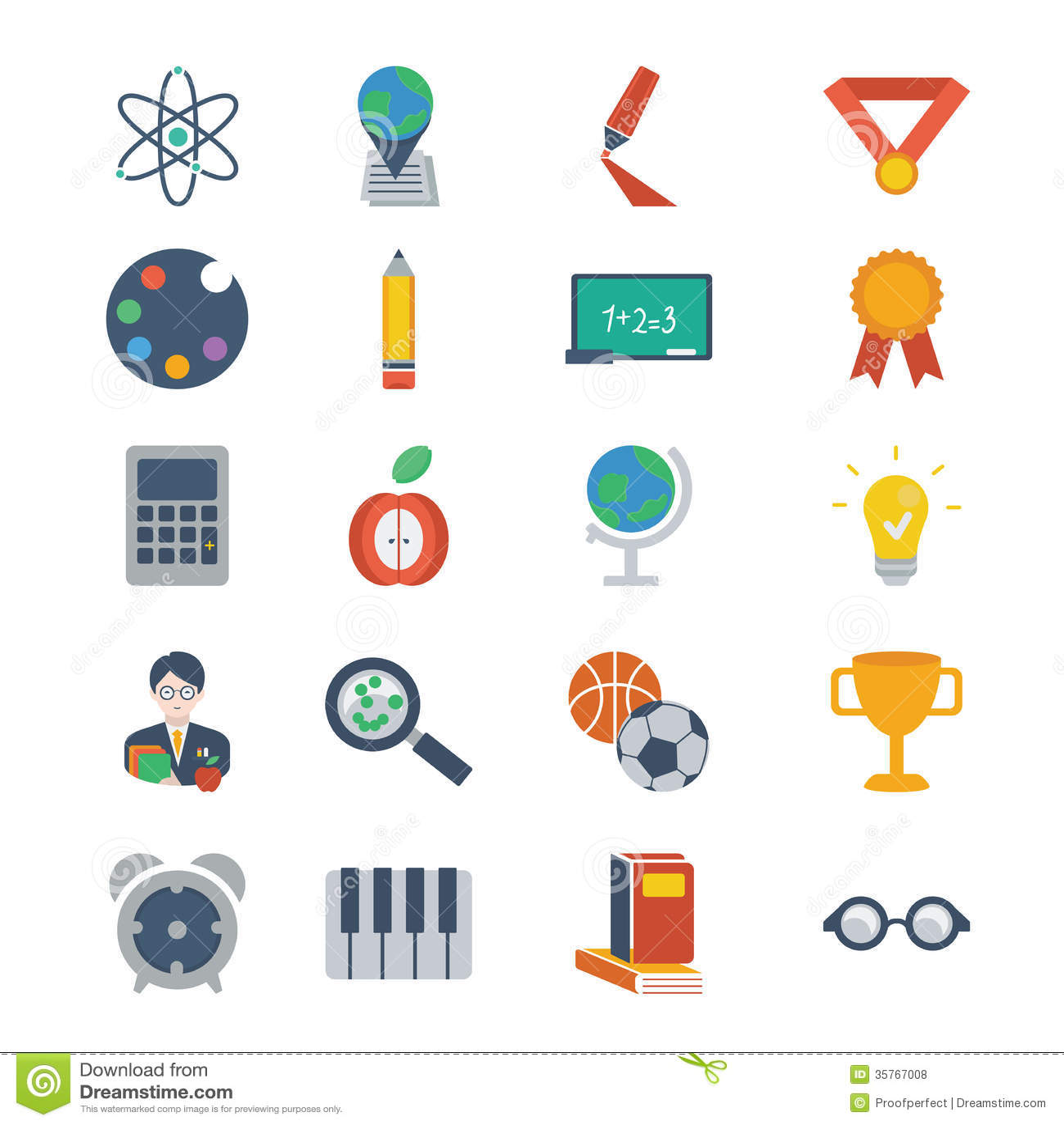 Set Of Modern Flat Icons On Education Theme Royalty Free Stock ...