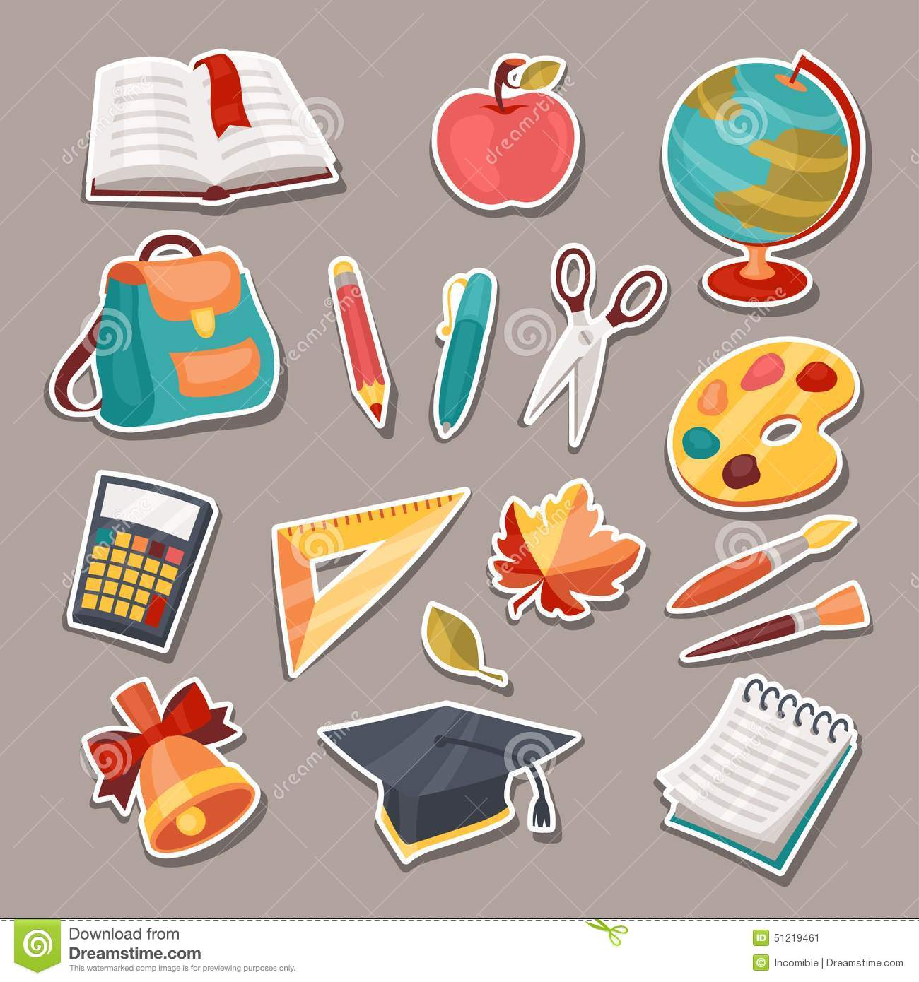 School And Education Icons Symbols Objects Set Cartoon